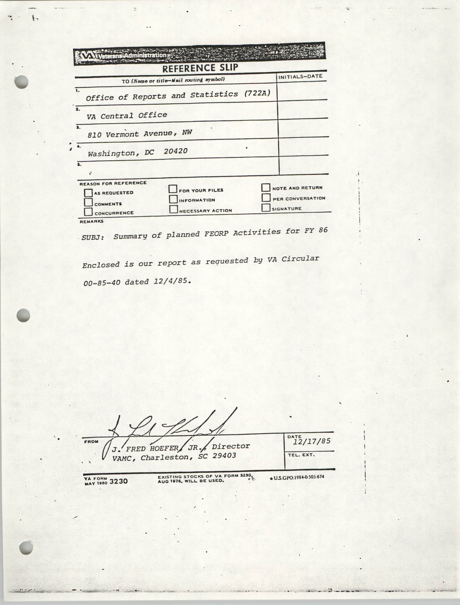 Veterans Administration Reference Slip for Planned FEORP Activities, December 1985