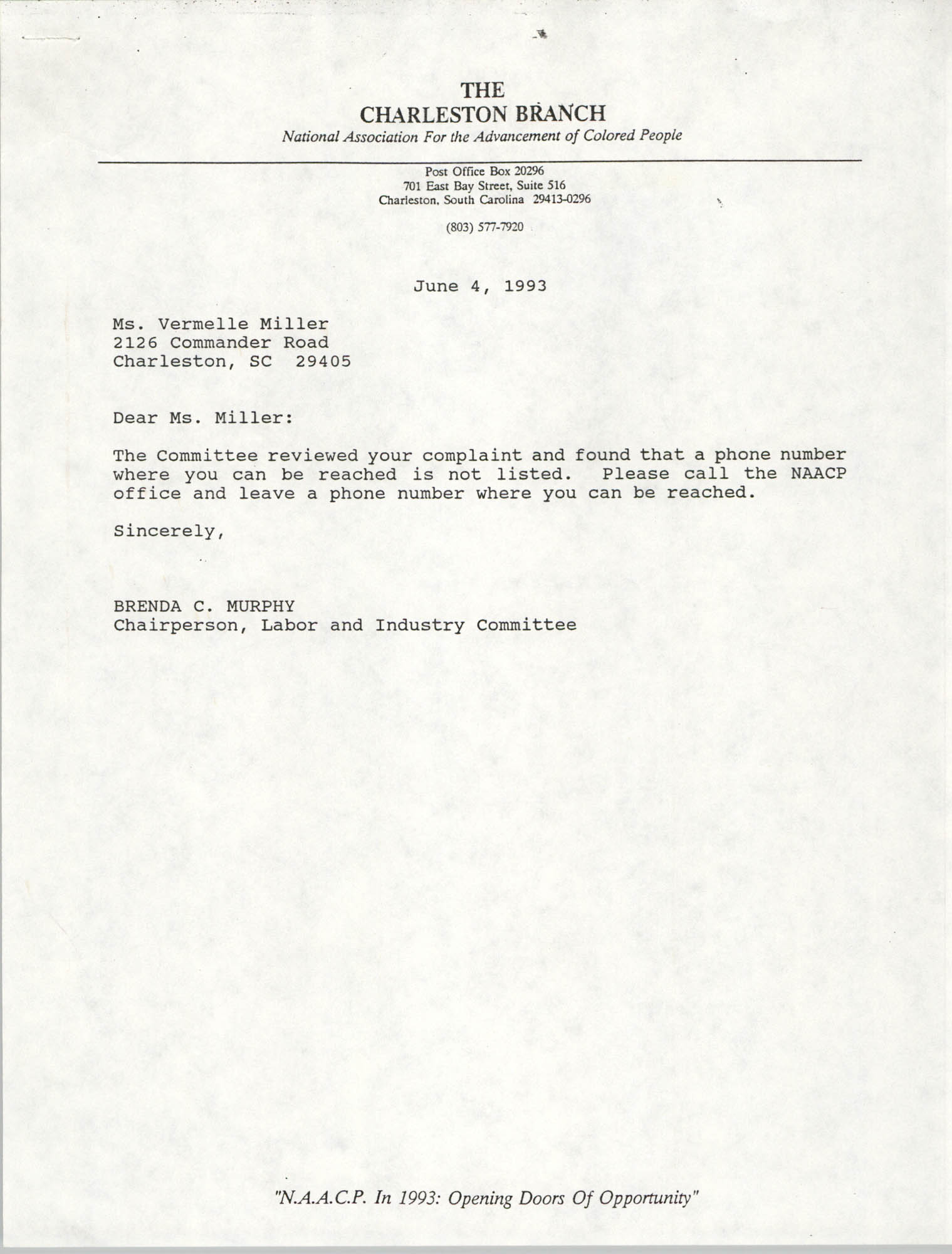 Letter from Brenda C. Murphy to Vermelle Miller, June 4, 1993