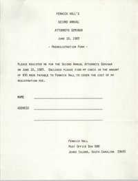Fenwick Hall's Second Annual Attorneys Seminar, Pre-registration form, June 10, 1983