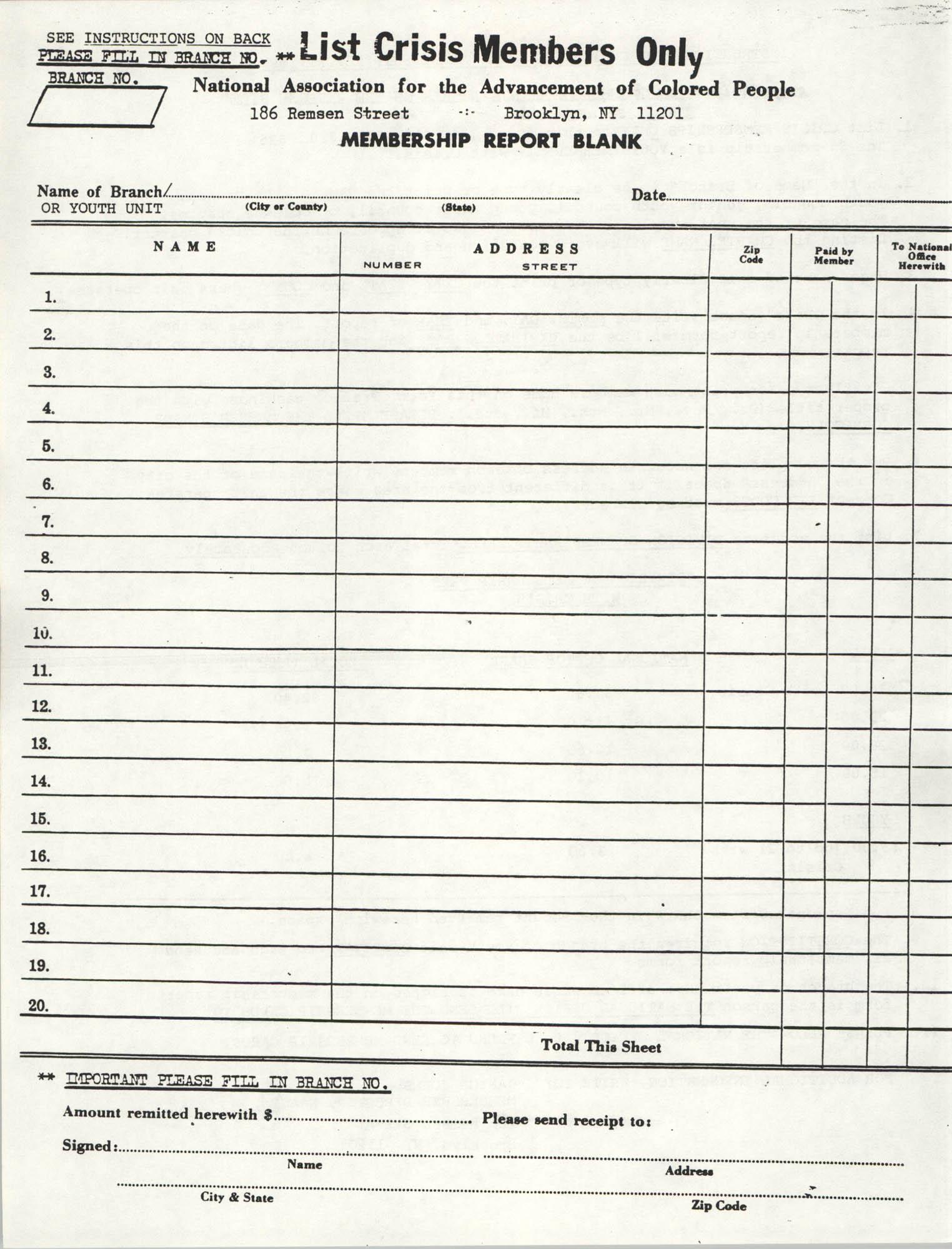 Membership Report Form, List Crisis Members, NAACP