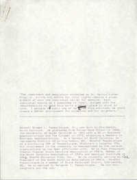 Draft, Statement and Biography, Ernie Passailaigue