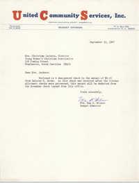 Letter from Mae B. Wilson to Christine Jackson, September 30, 1967