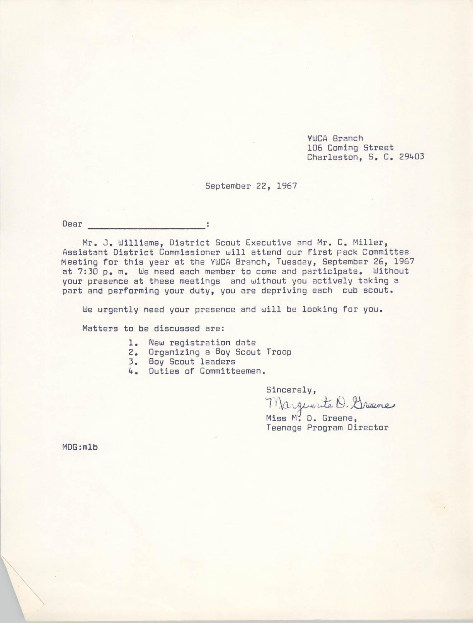 Letter from Marguerite D. Greene, September 22, 1967