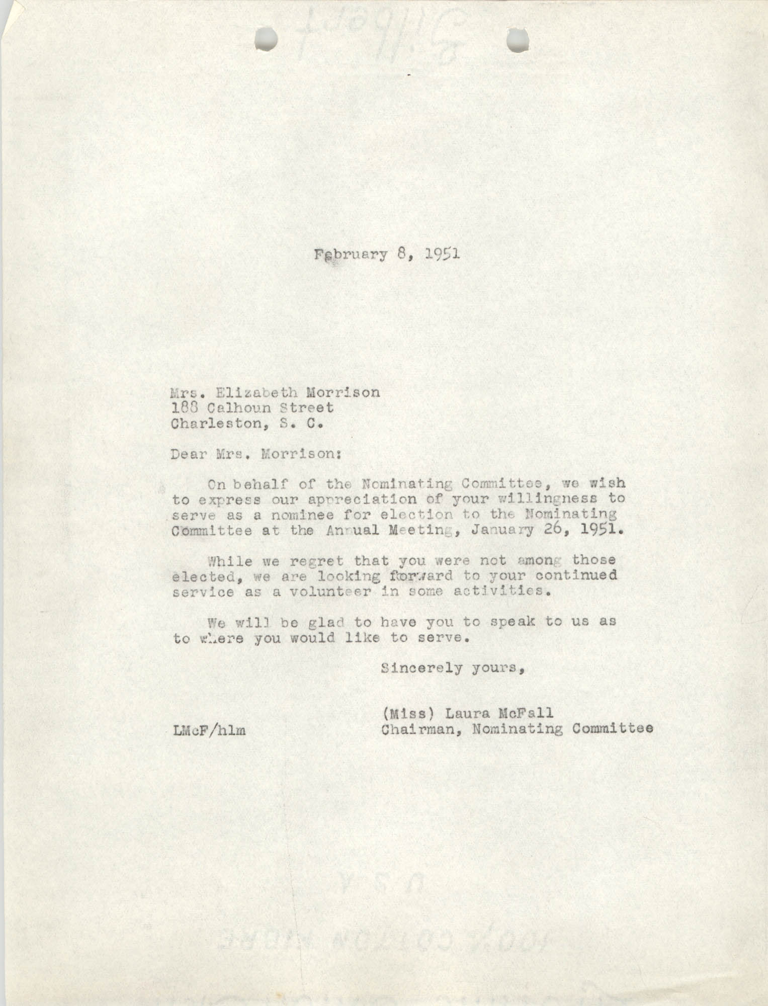 Letter from Laura McFall to Elizabeth Morrison, February 8, 1951