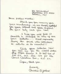 Letter from Christine O. Jackson, October 1967