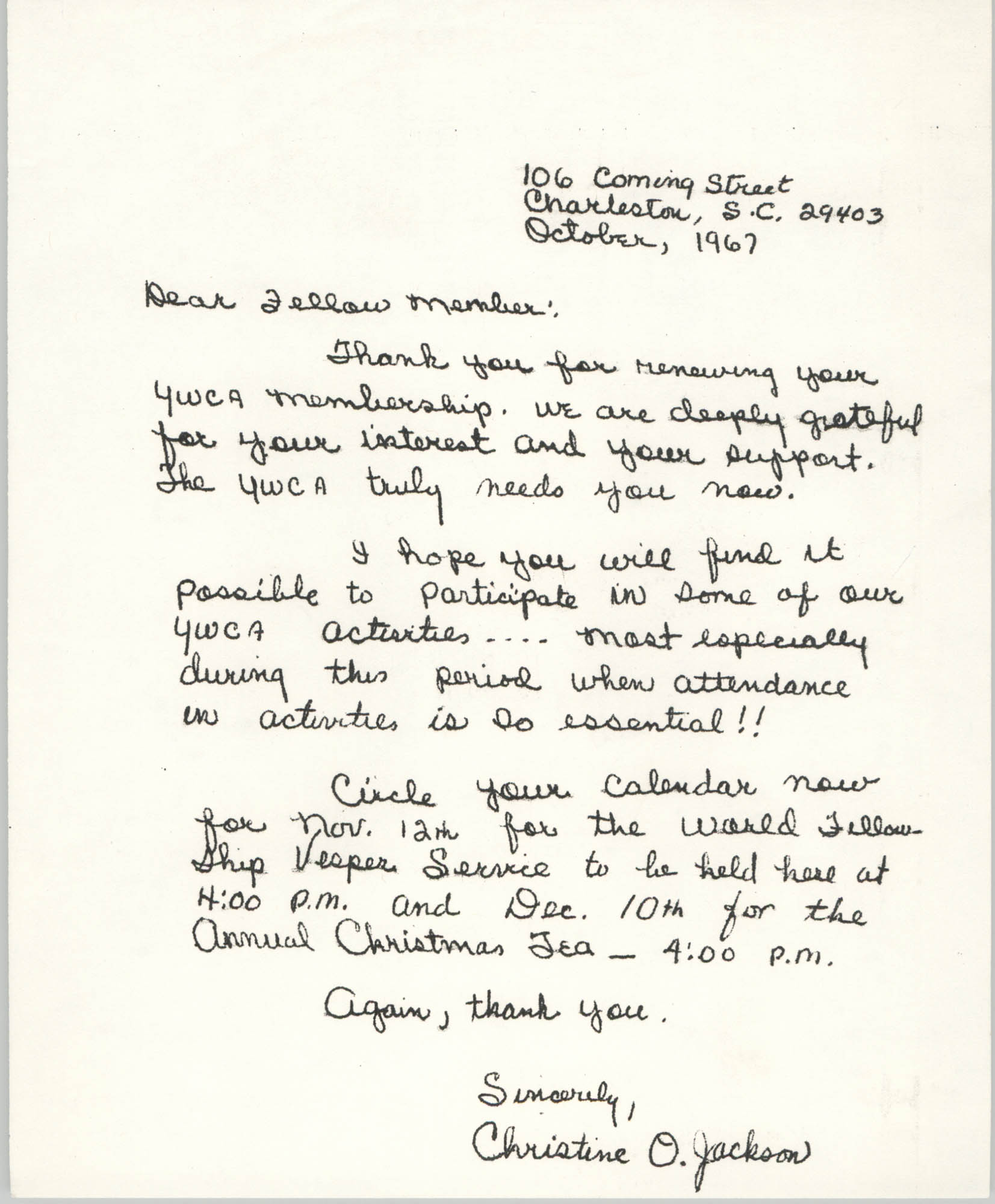 Letter from Christine O. Jackson, October 1967