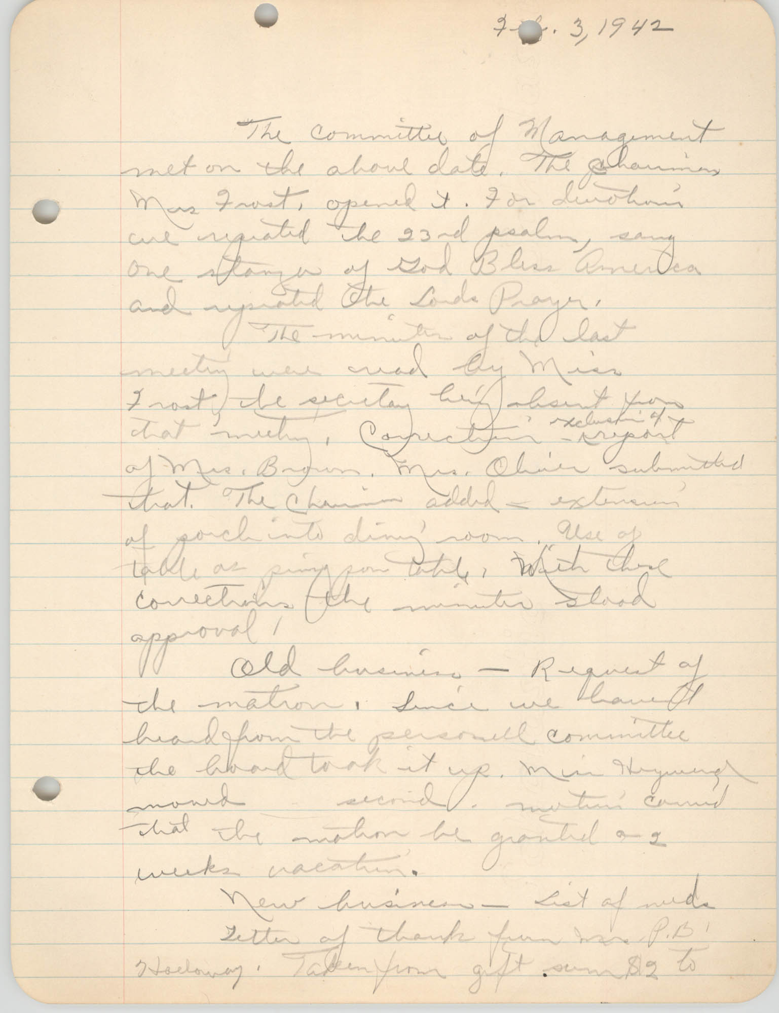 Minutes to the Committee of Management, Coming Street Y.W.C.A., February 3, 1942
