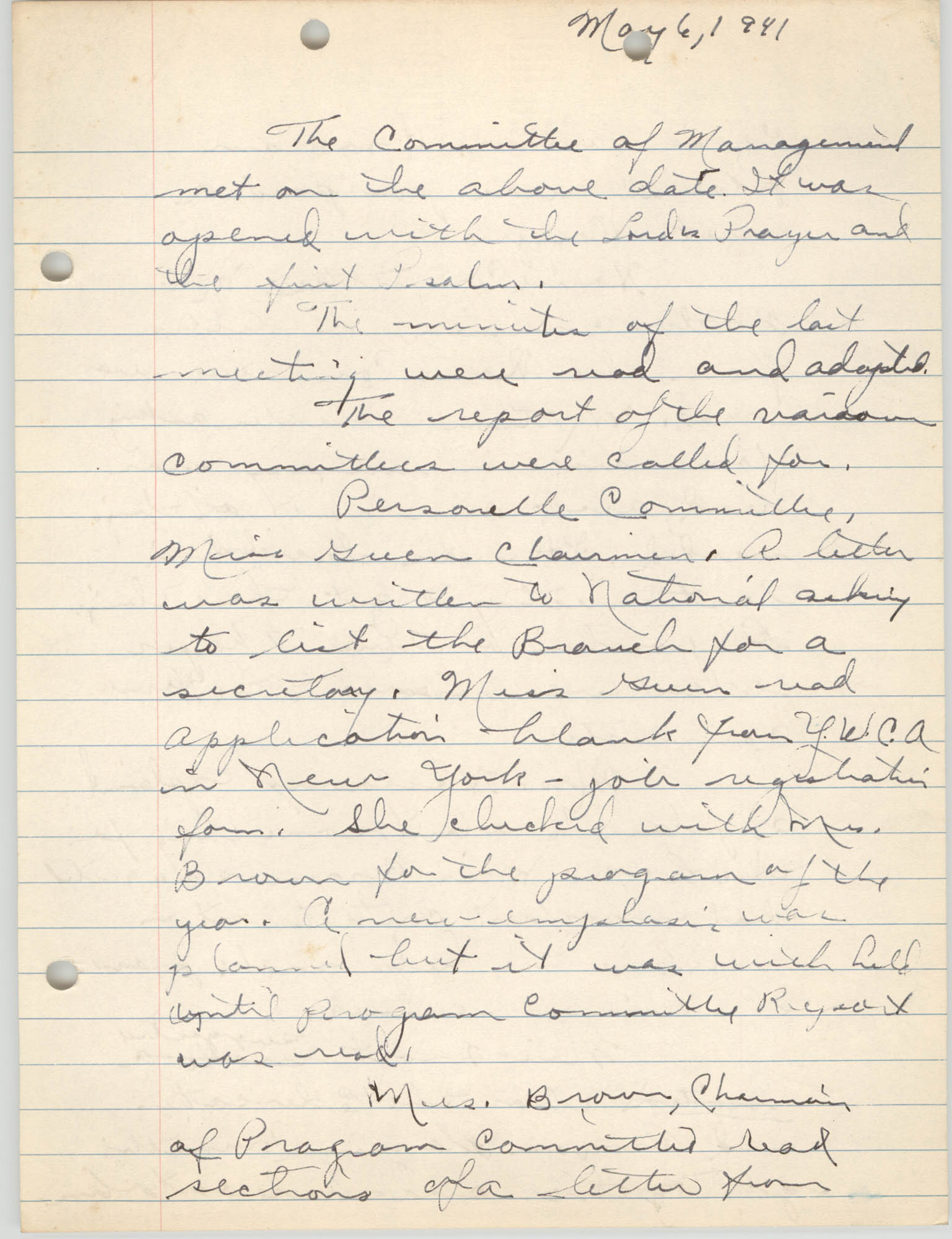 Minutes to the Committee of Management, Coming Street Y.W.C.A., May 6, 1941