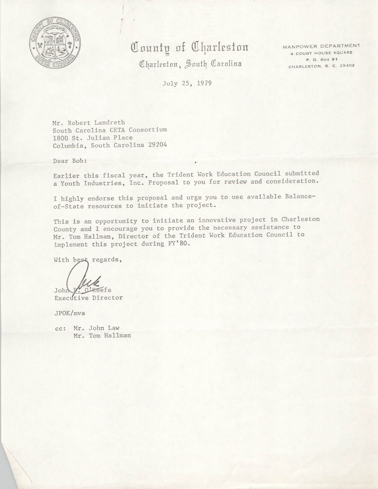 Letter from John P. O'Keefe to Robert Landreth, July 25, 1979