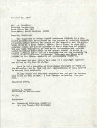 Letter from Aundrea I. Harney to L. A. Chaddick, November 13, 1974