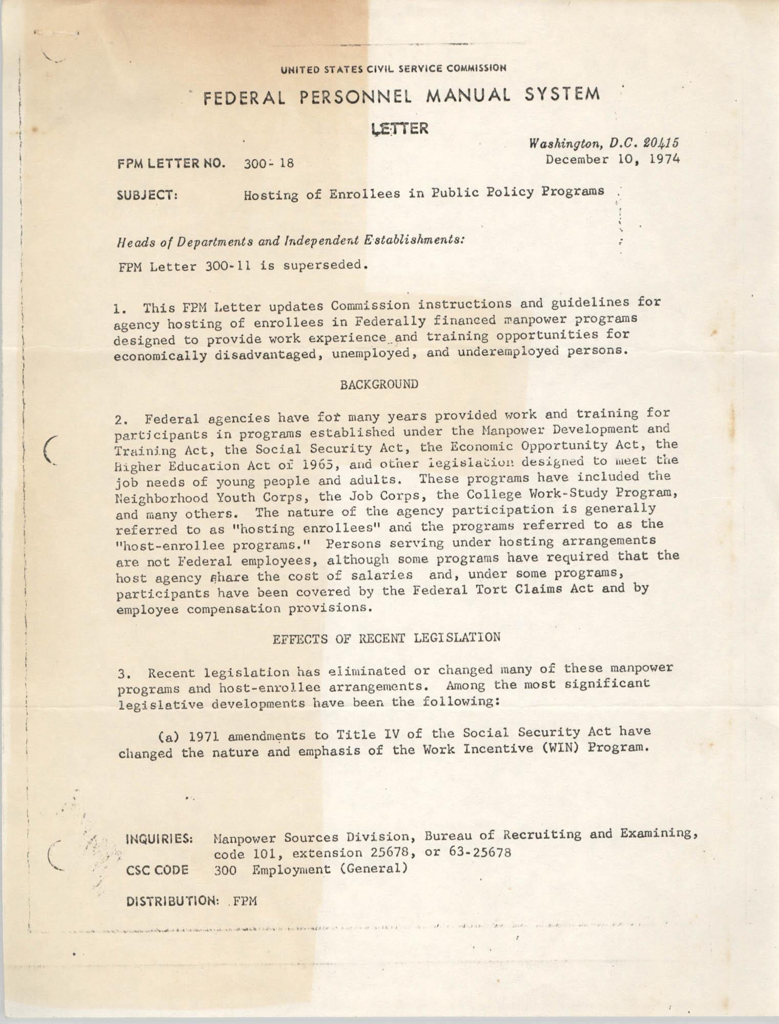 Federal Personnel Manal System Letter 300-18, December 10, 1974