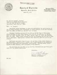 Letter from Donald H. Lindsey, Jr. to William Saunders, March 12, 1979