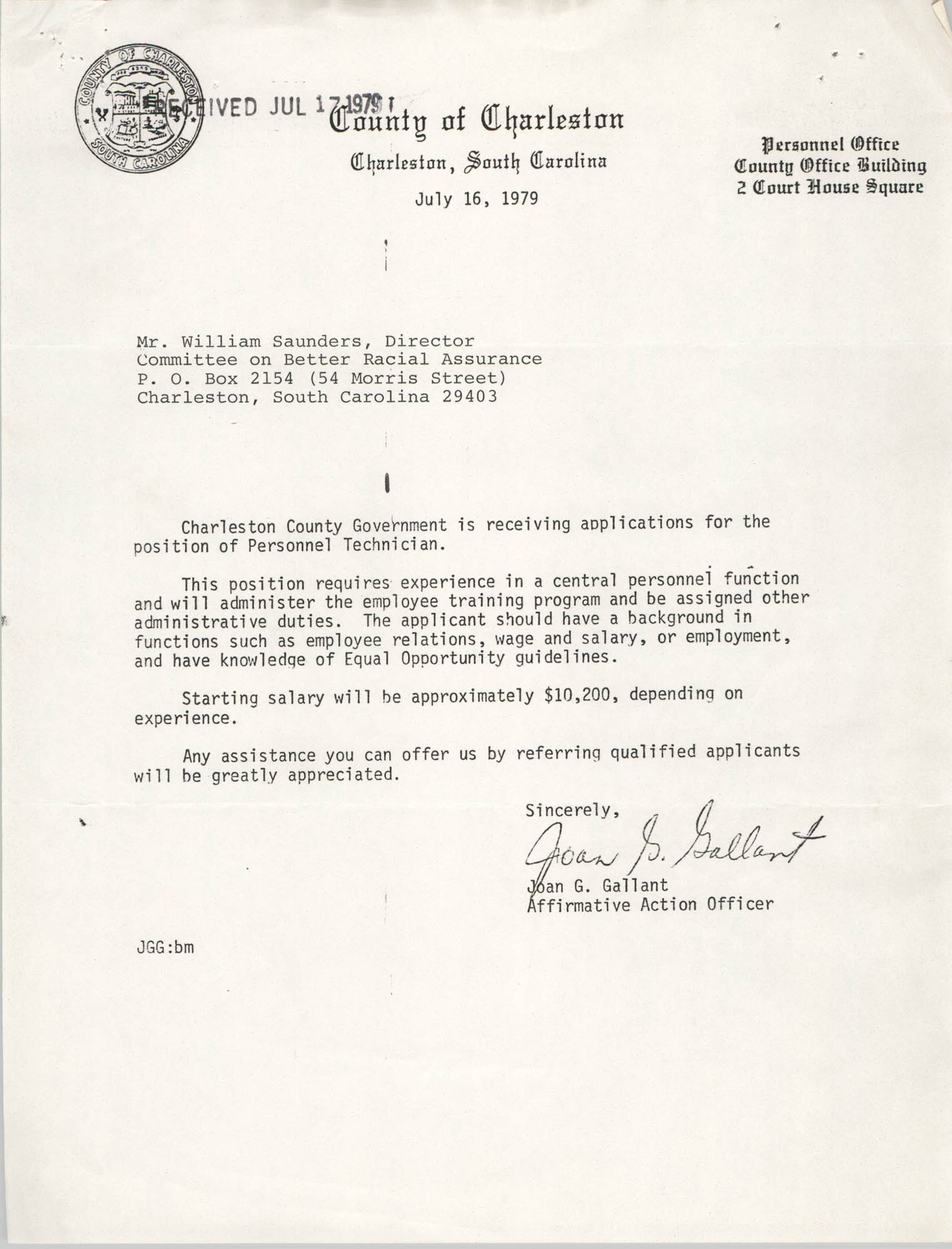 Letter from Joan G. Gallant to William Saunders, July 16, 1979