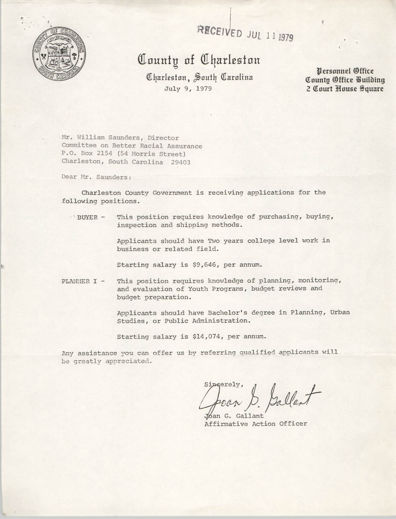 Letter from Joan G. Gallant to William Saunders, July 9, 1979