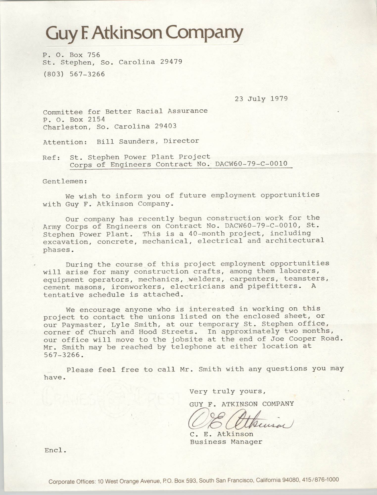 Letter from C. E. Atkinson to William Saunders, July 23, 1979