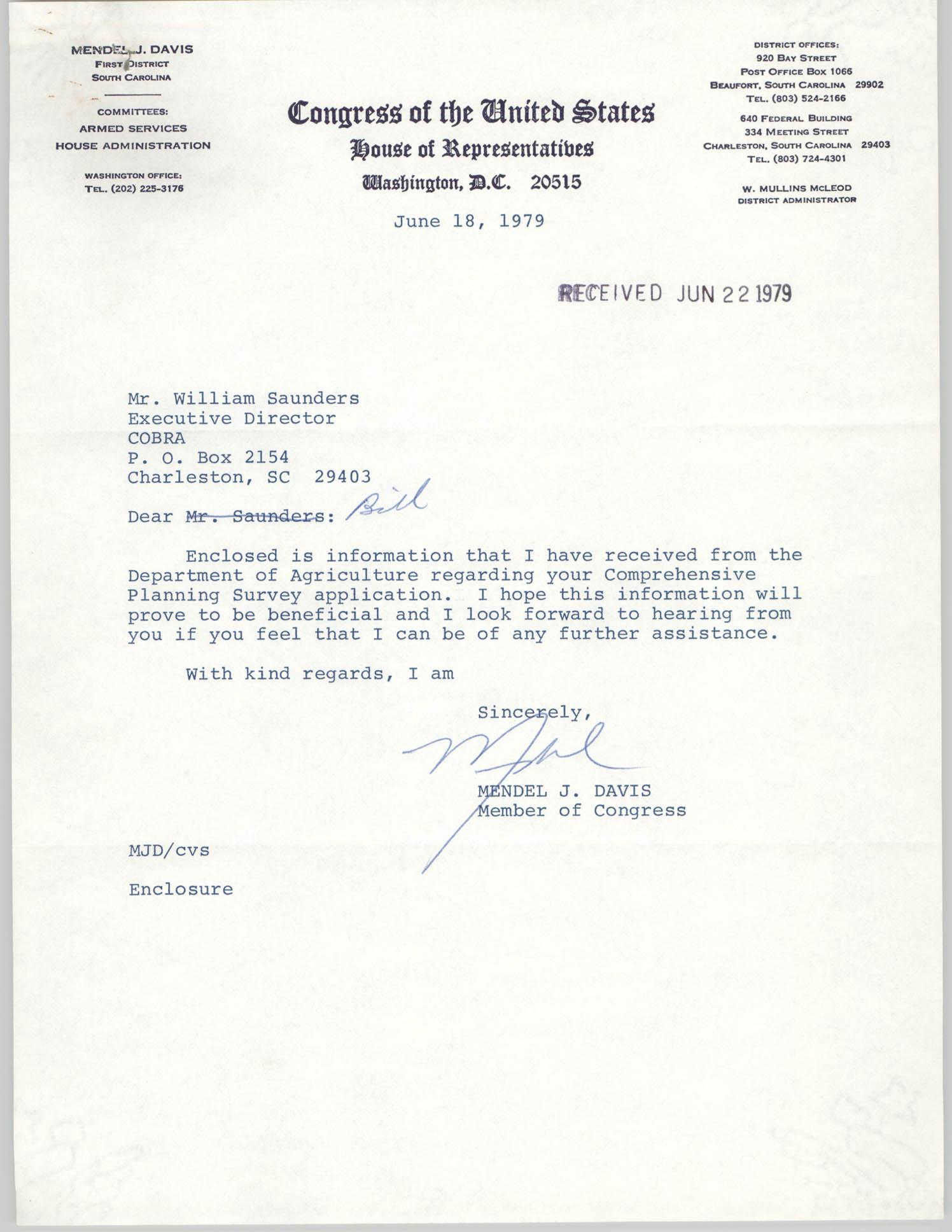Letter from Mendel J. Davis to William Saunders, June 22, 1979