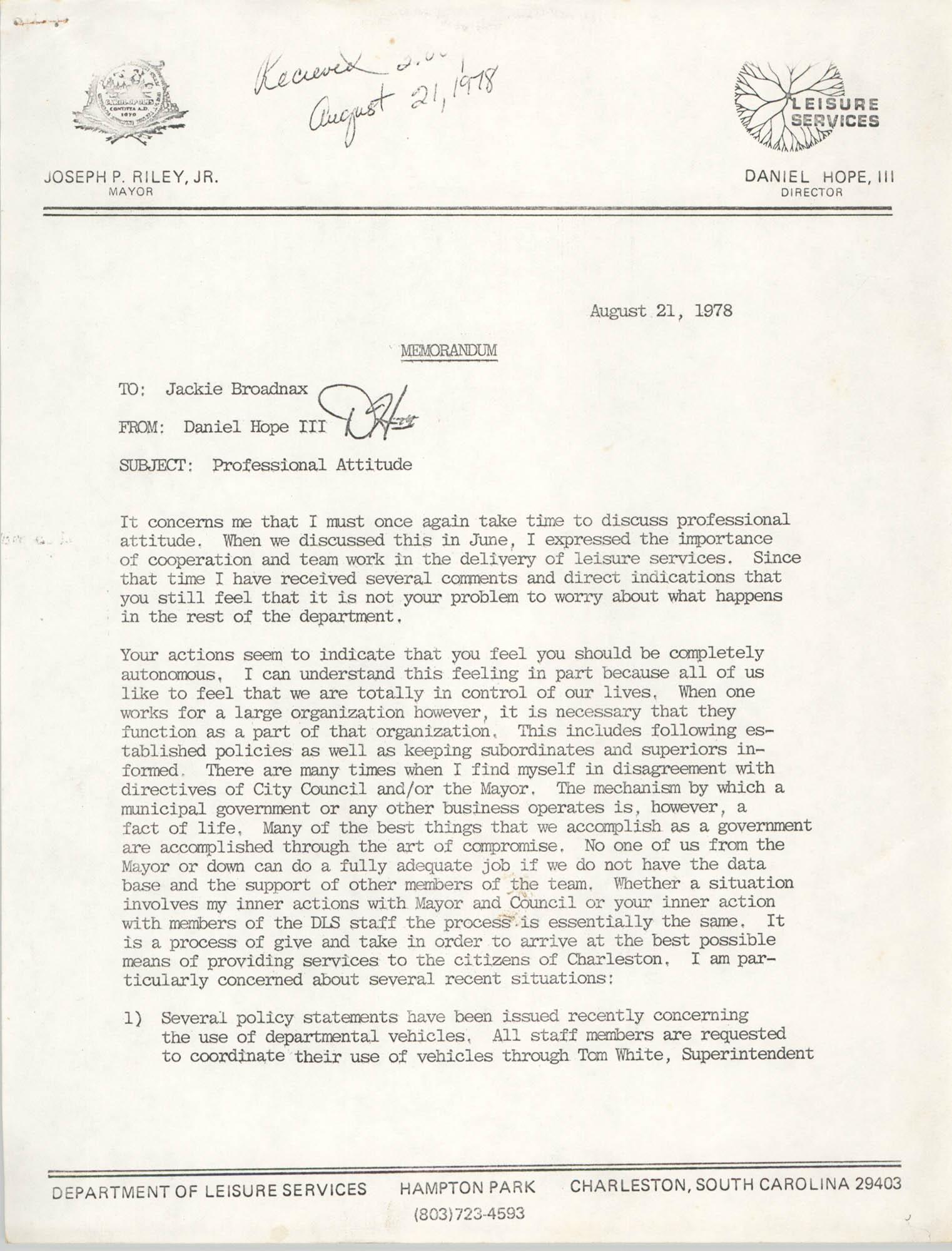 City of Charleston Department of Leisure Services Memorandum, August 21, 1978