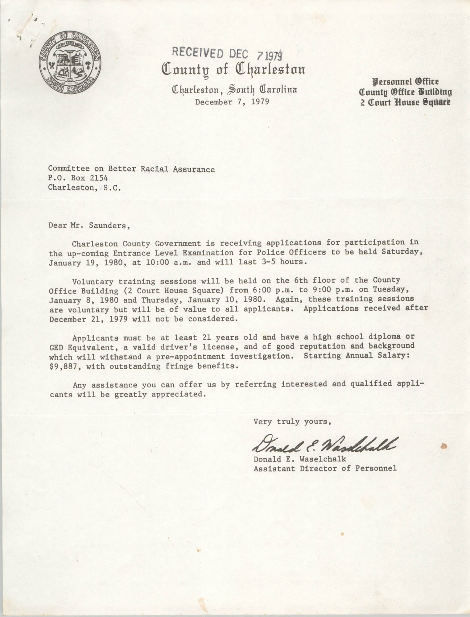Letter from Donald E. Waselchalk to William Saunders, December 7, 1979