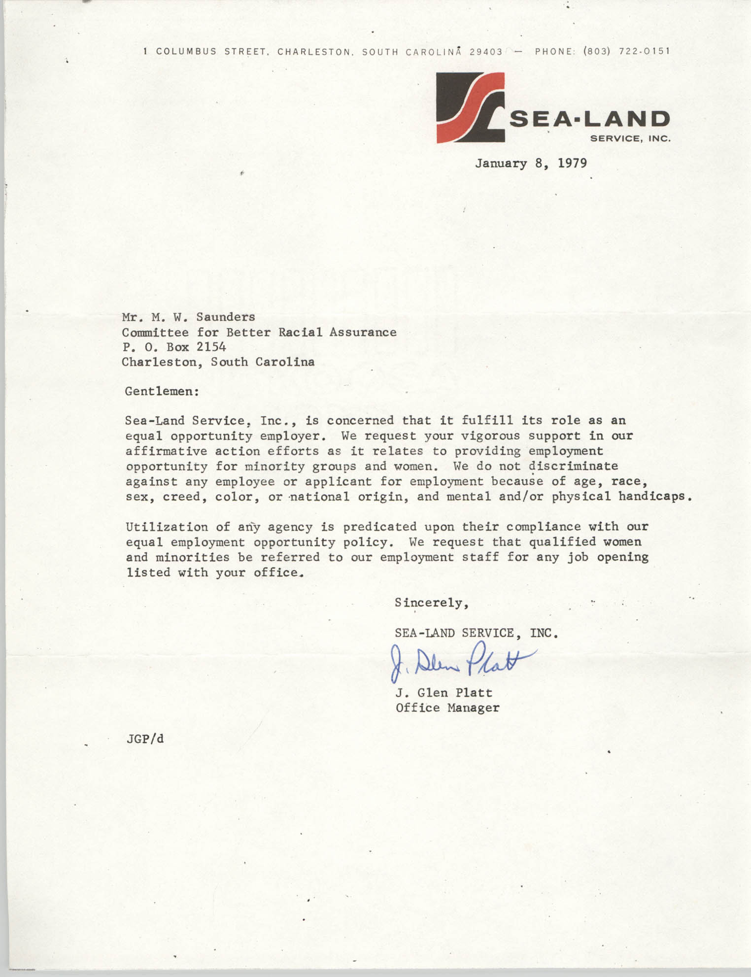Letter from J. Glen Platt to William Saunders, January 8, 1979