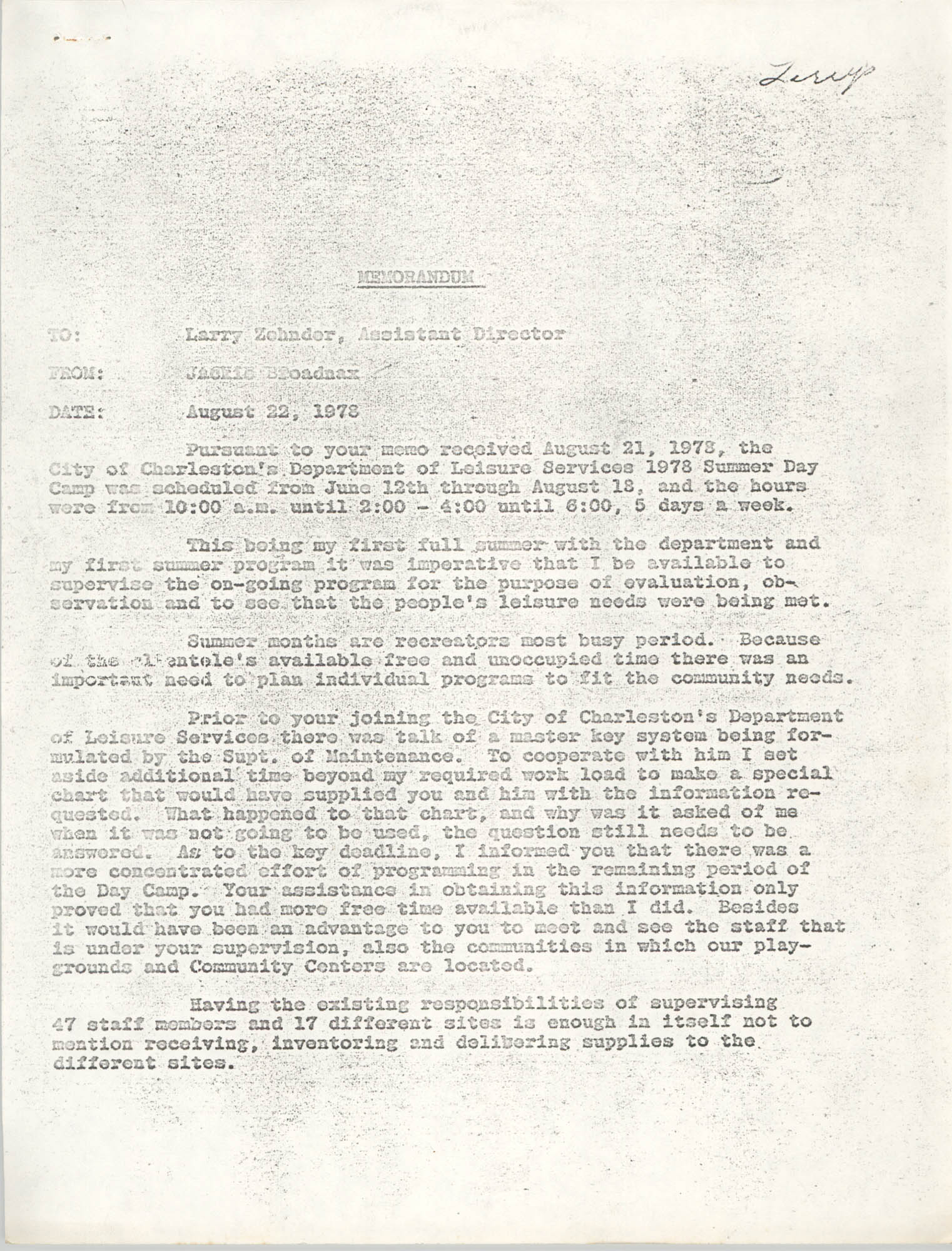 City of Charleston Department of Leisure Services Memorandum, August 21, 1978