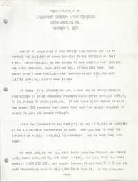 Press Statement by Lieutenant Governor Nancy Stevenson, October 3, 1979