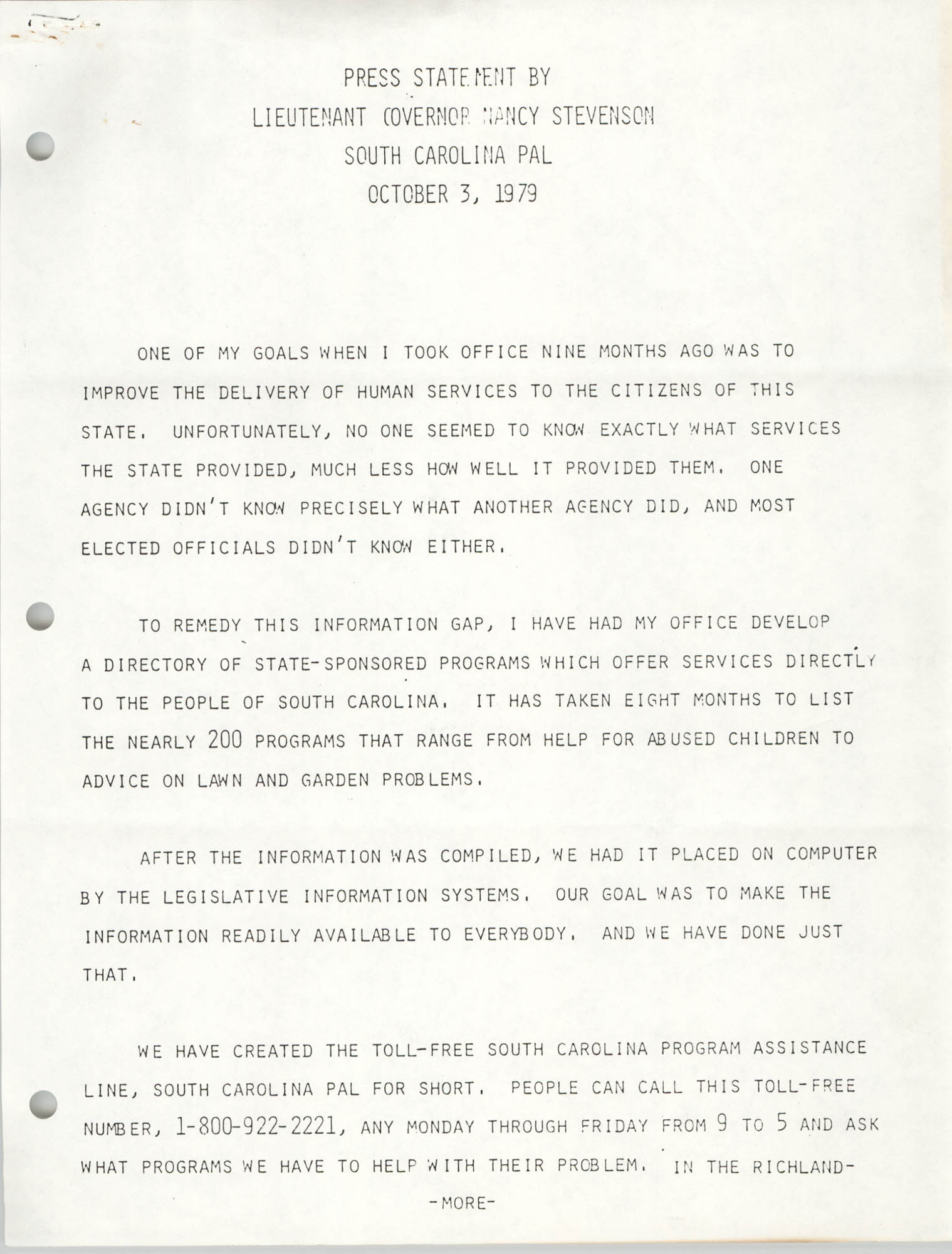 Press Statement by Lieutenant Governor Nancy Stevenson, October 3, 1979
