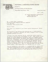 Letter from Arthur R. DePalma to J. Arthur Brown, June 3, 1976