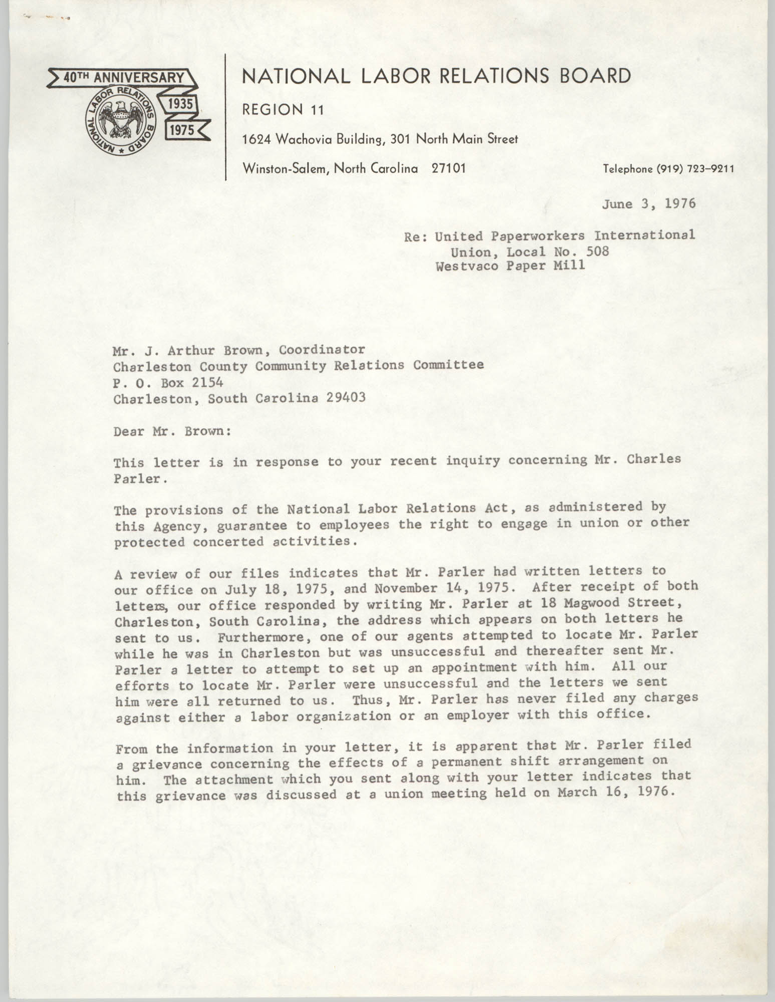Letter from Arthur R. DePalma to J. Arthur Brown, June 3, 1976