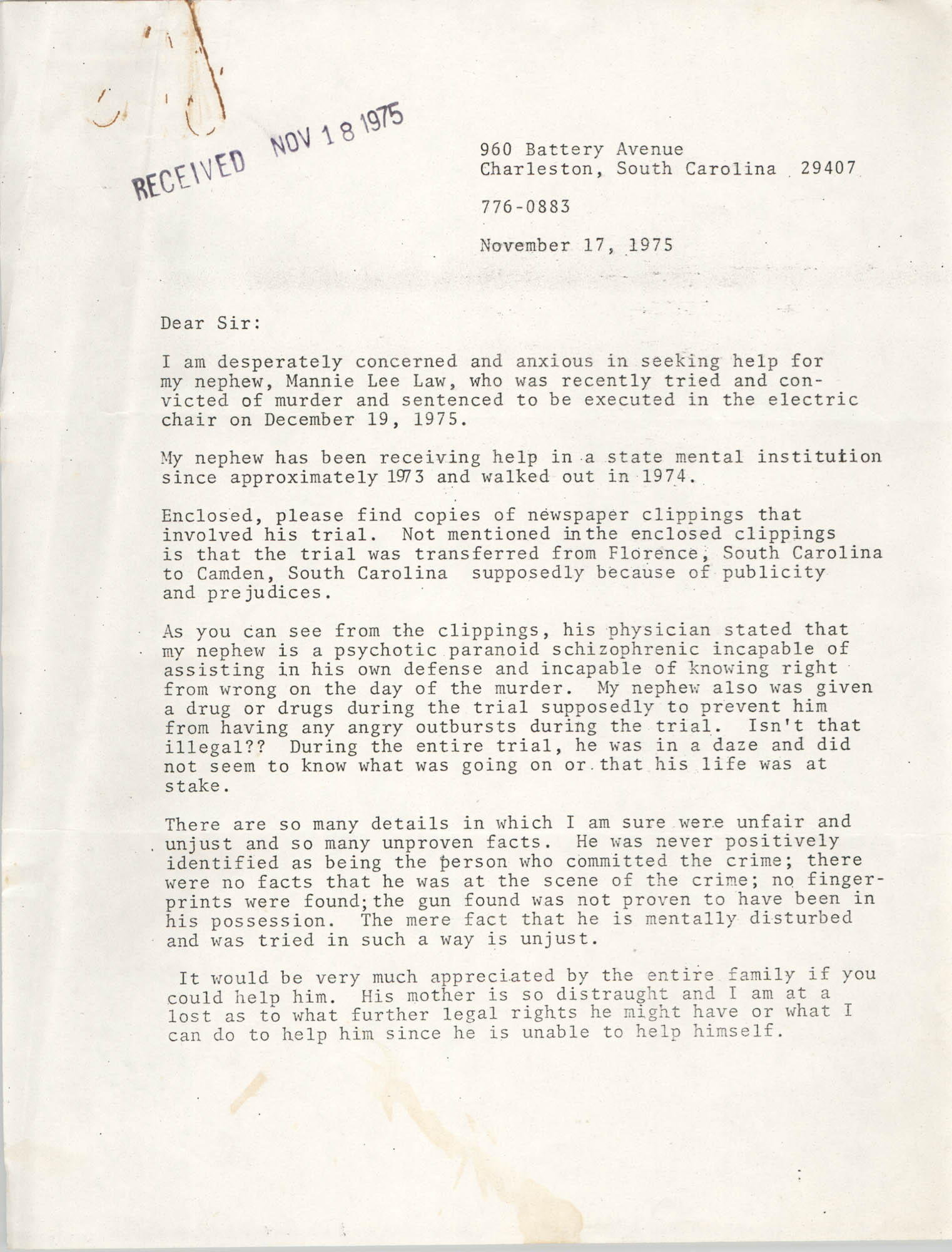 Letter from Hattie C. Williamson, November 17, 1975