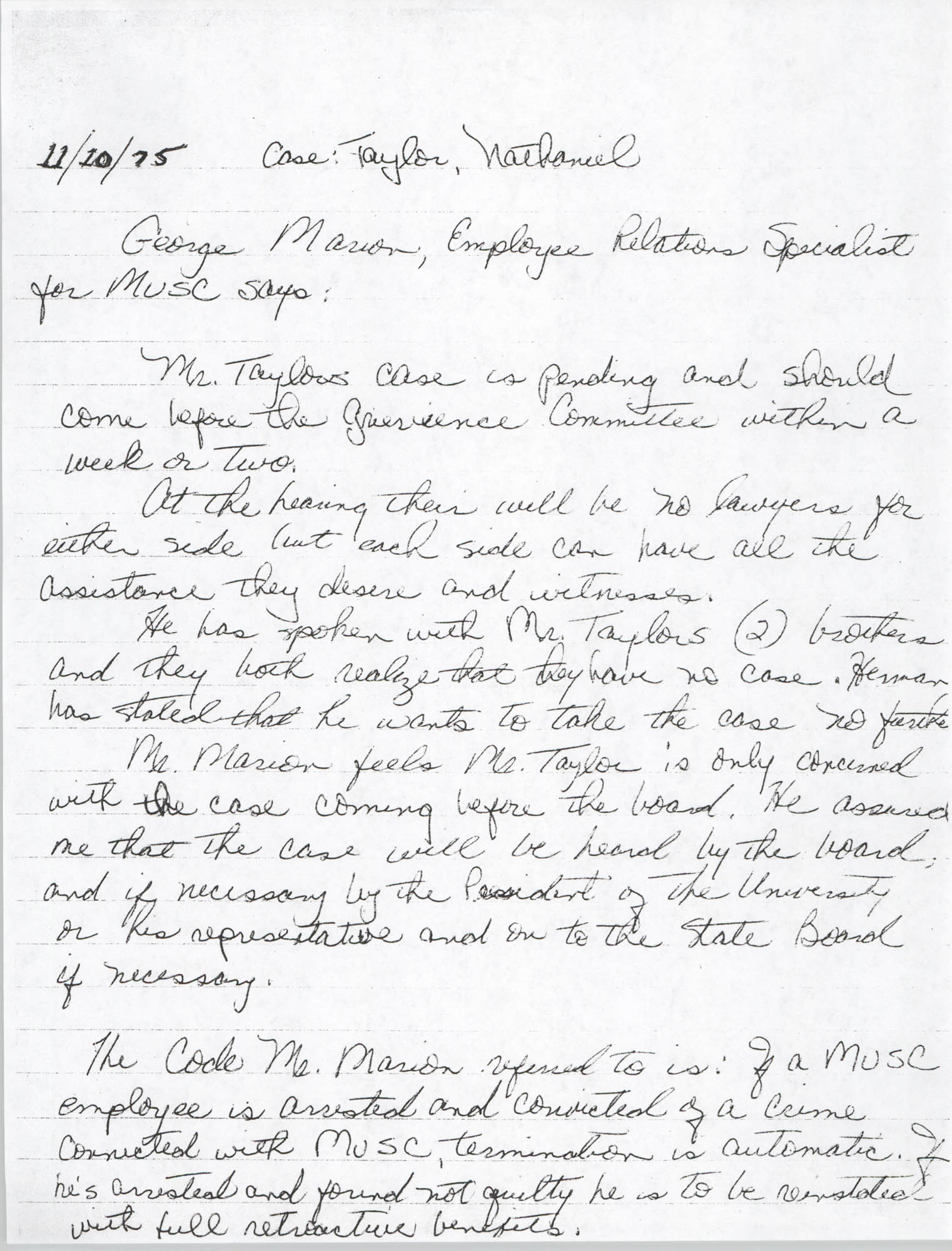 George Marion Statement, Nathaniel Taylor Case