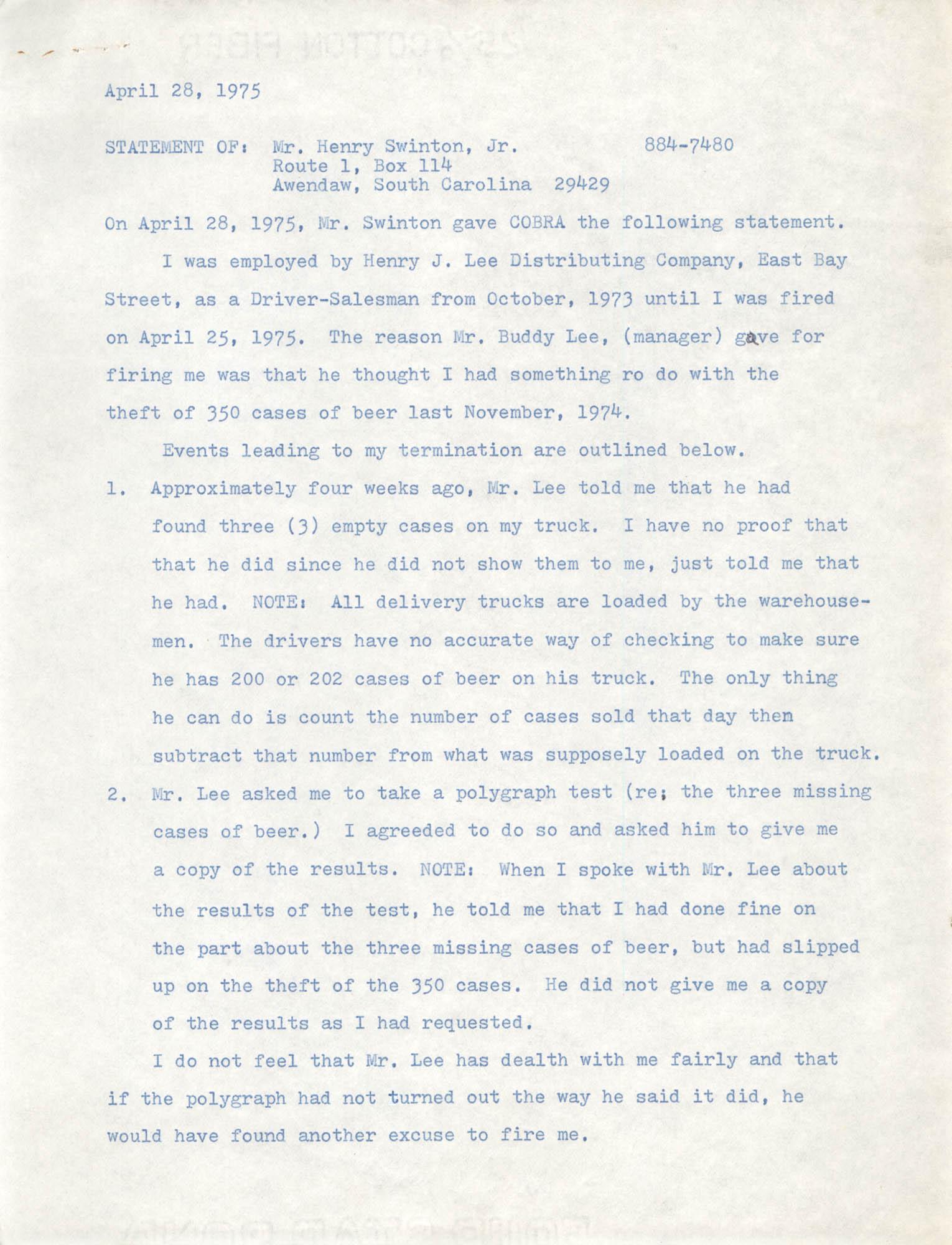 Statement by Henry Swinton, Jr.