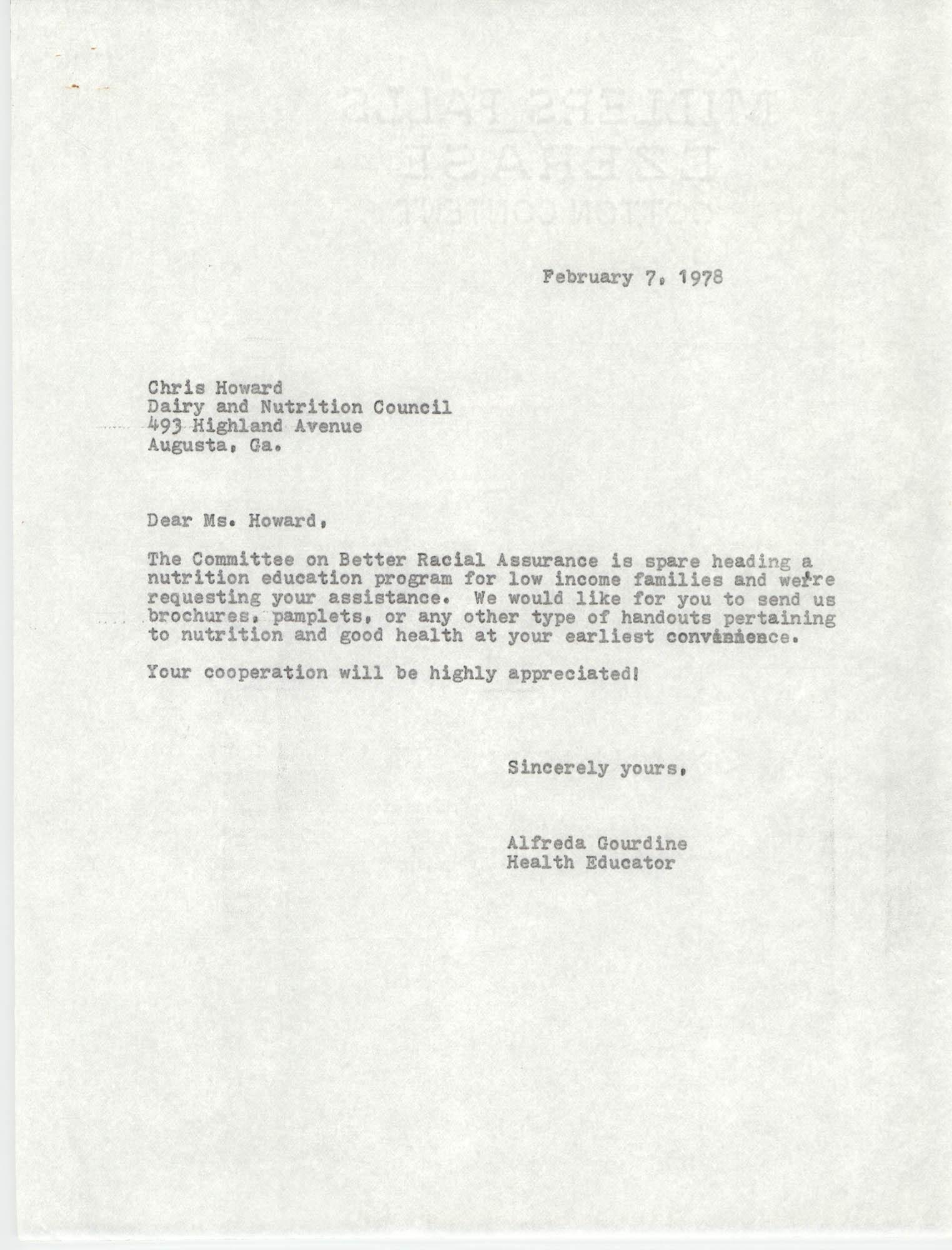 Letter from Alfreda Gourdine to Chris Howard, February 7, 1978