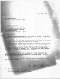 Letter from Ellen T. Blanchard to Donald J. Cameron, January 10, 1978