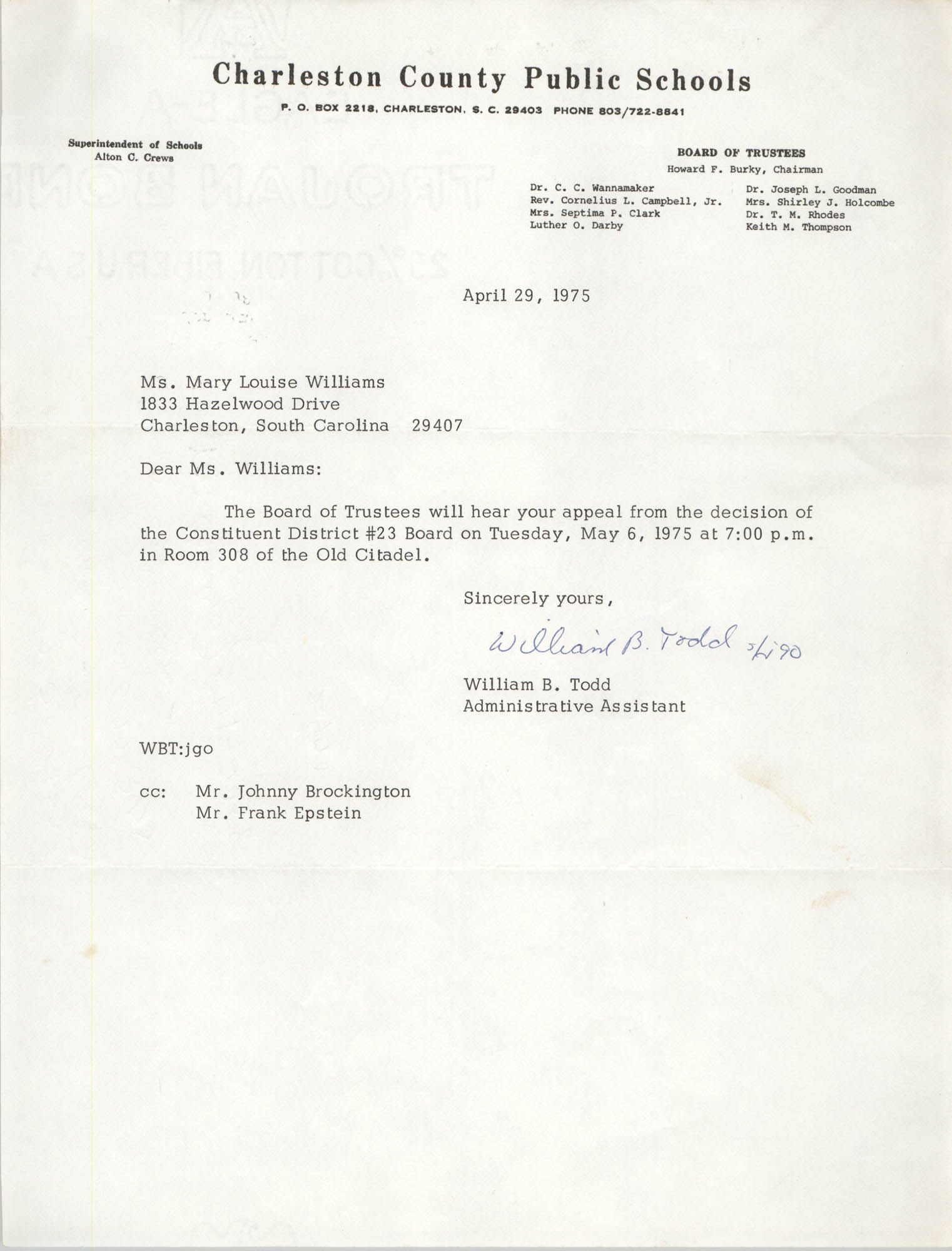 Letter from William B. Todd to Mary L. Williams, April 29, 1975