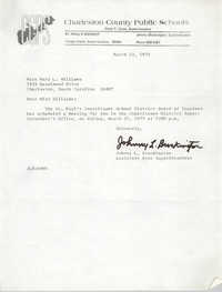 Letter from Johnny L. Brockington to Mary L. Williams, March 13, 1975