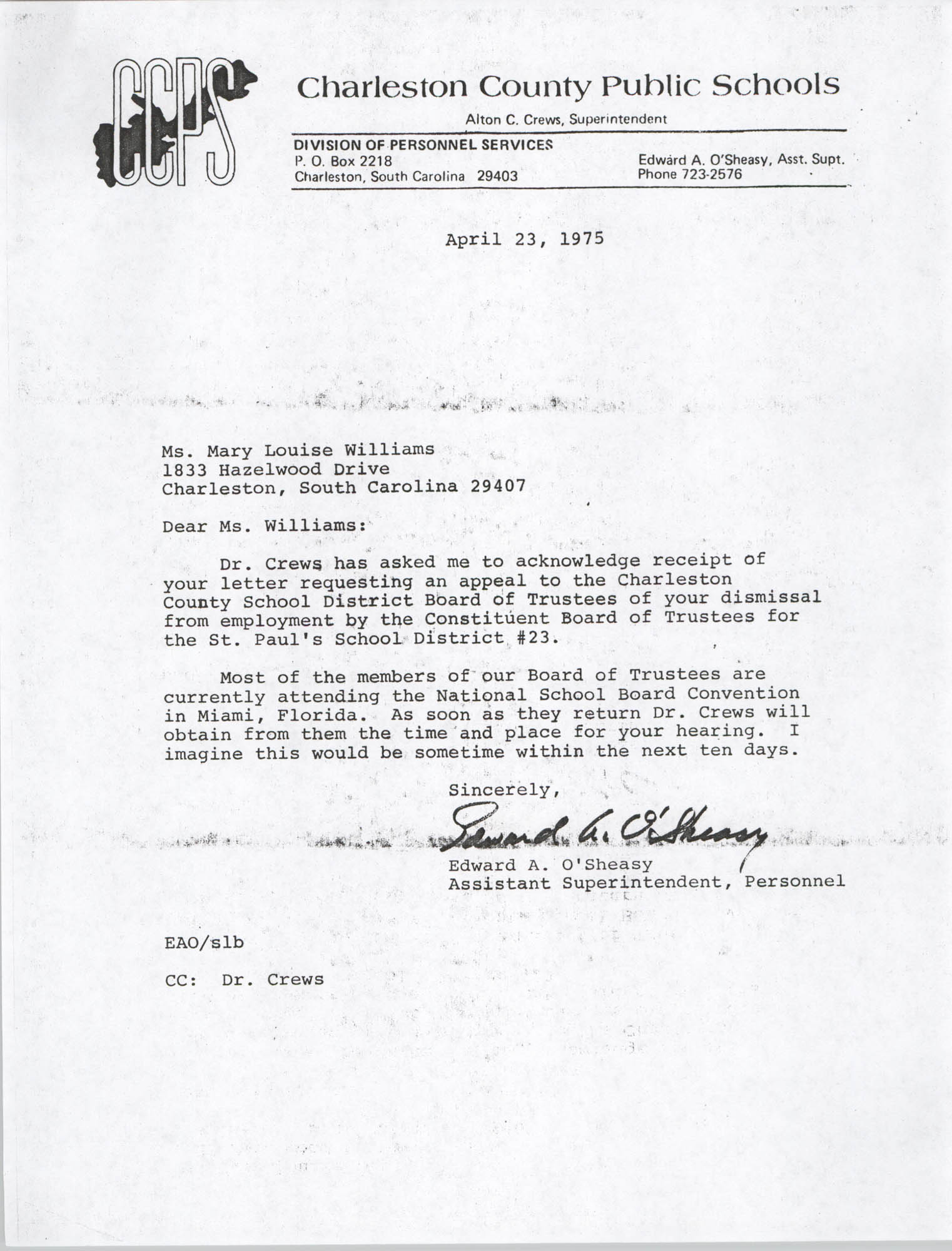 Letter from Edward A. O'Sheasy to Mary L. Williams, April 23, 1975