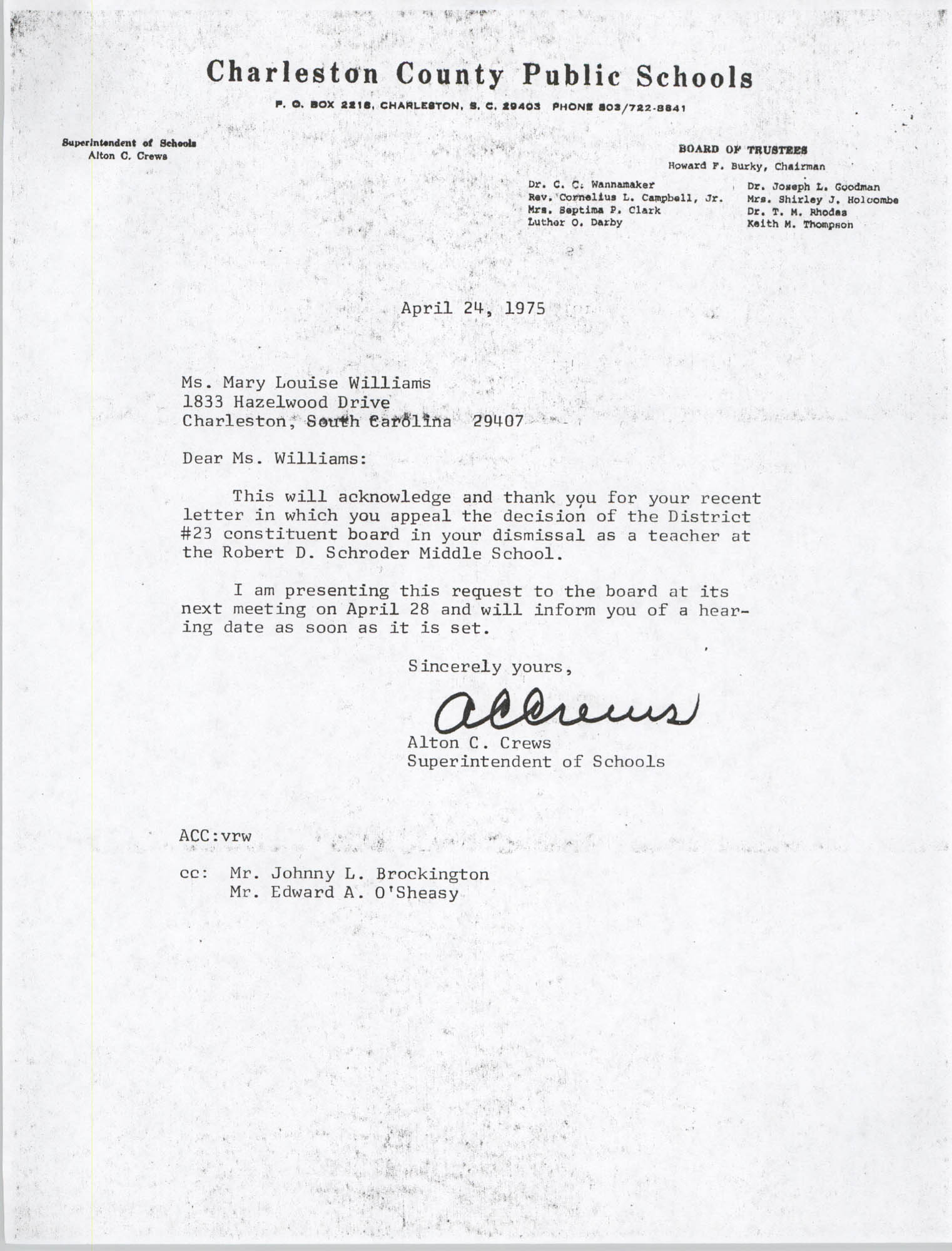 Letter from Alton C. Crews to Mary L. Williams, April 24, 1975