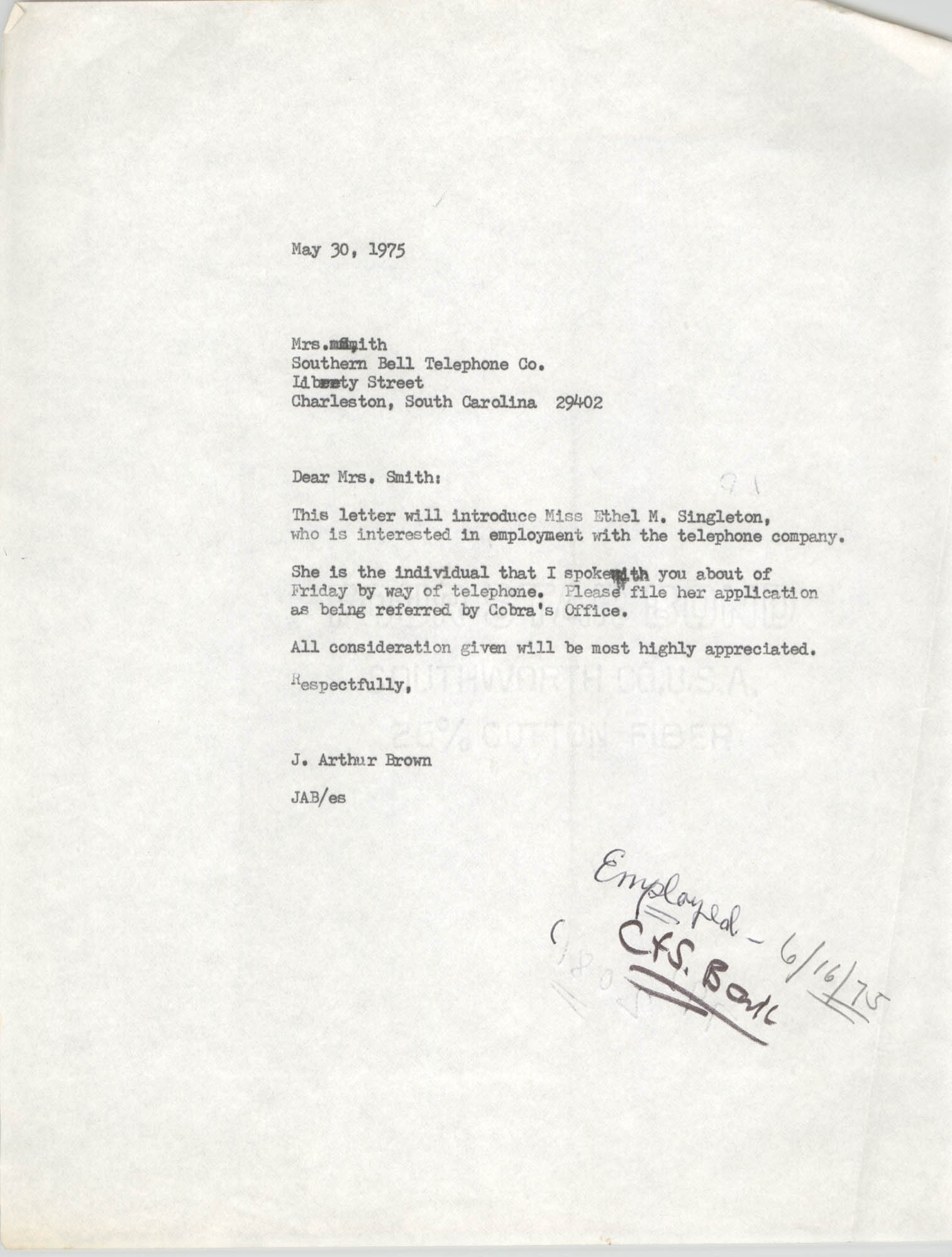 Letter from J. Arthur Brown, May 30, 1975