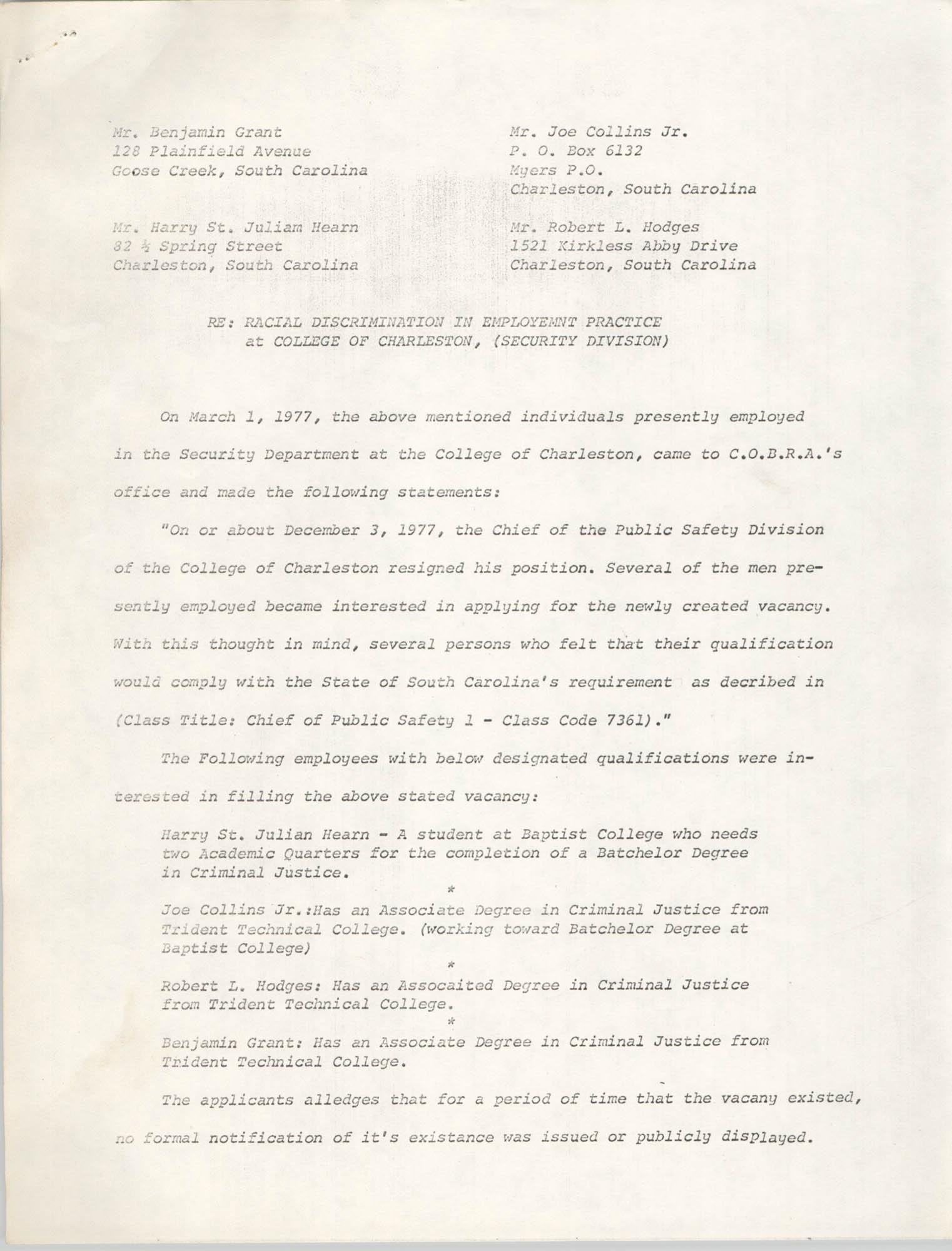 COBRA Statement, March 1, 1977