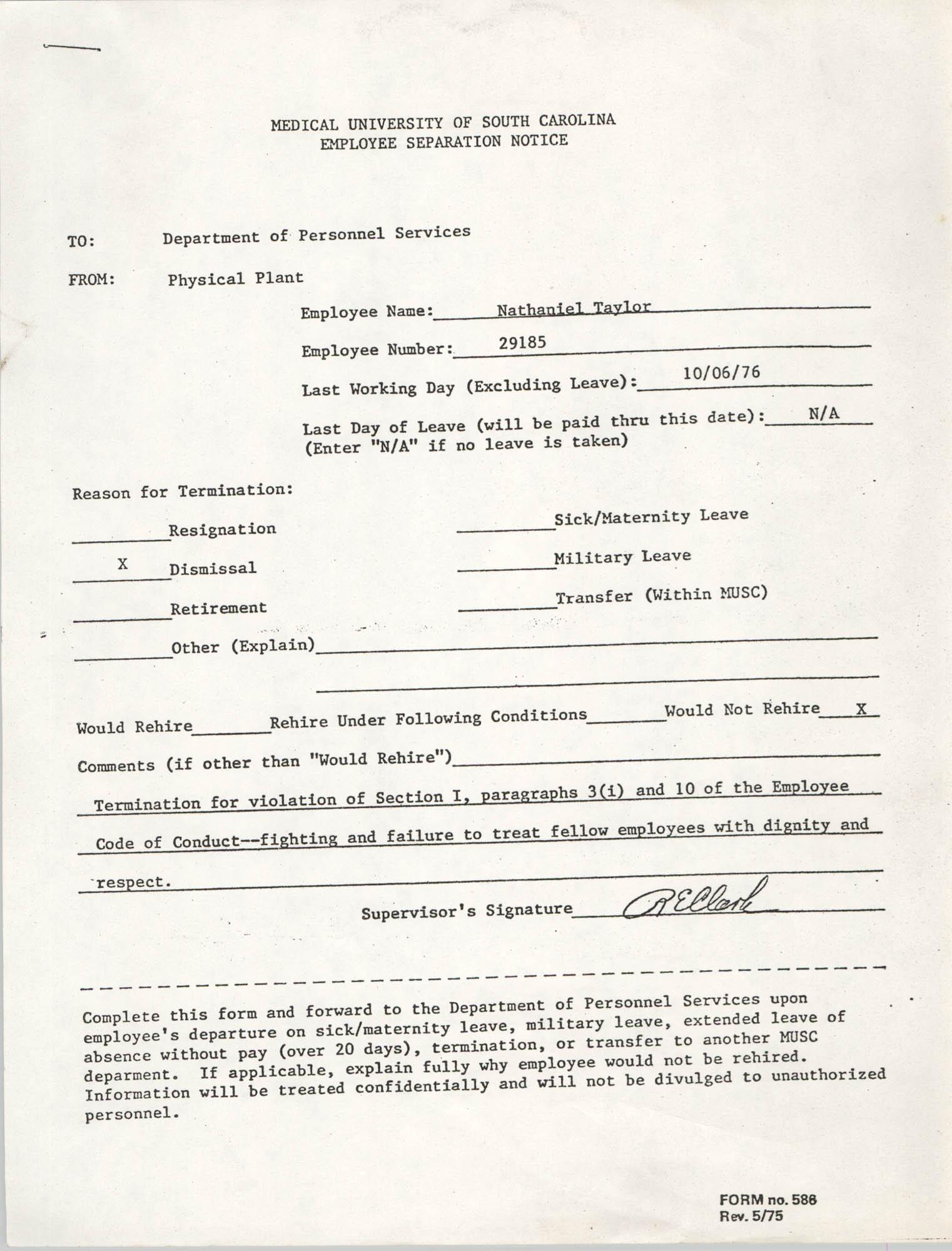 Medical University of South Carolina Employee Separation Notice, Nathaniel Taylor