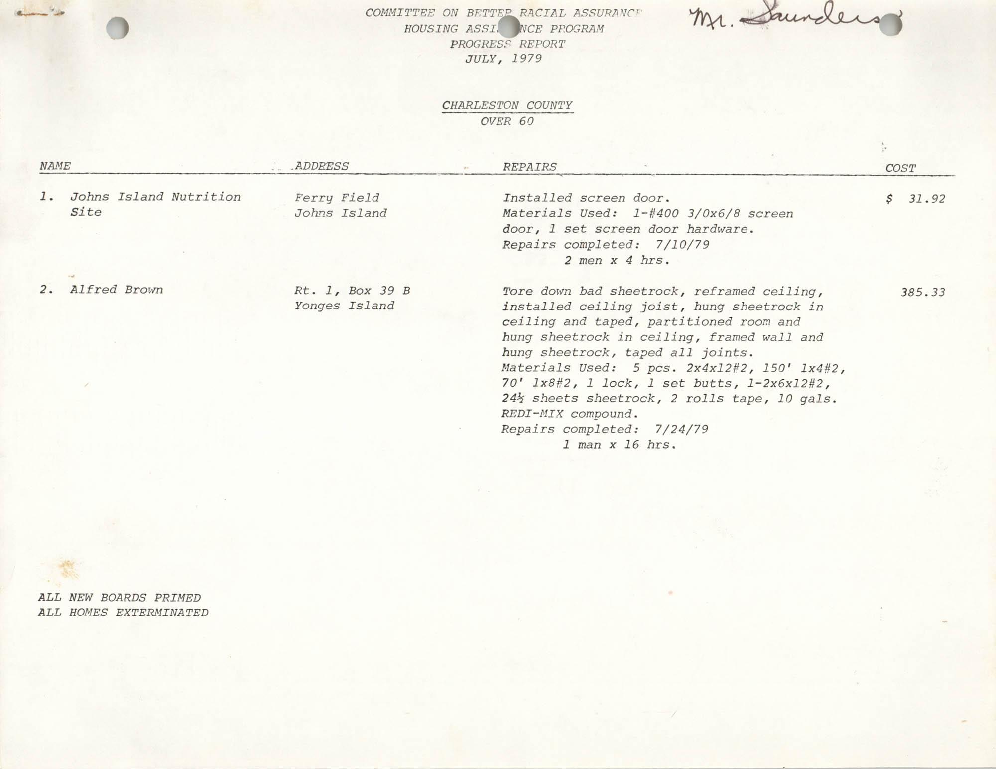 COBRA Housing Assistance Program Progress Report, July 1979