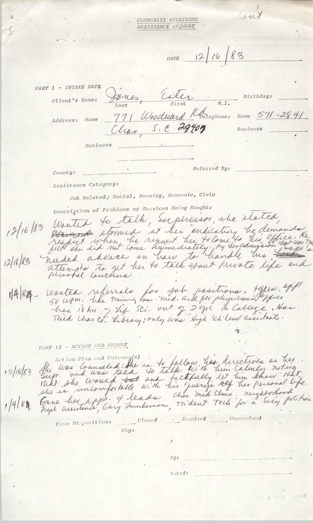 Community Relations Assistance Request, December 16, 1983