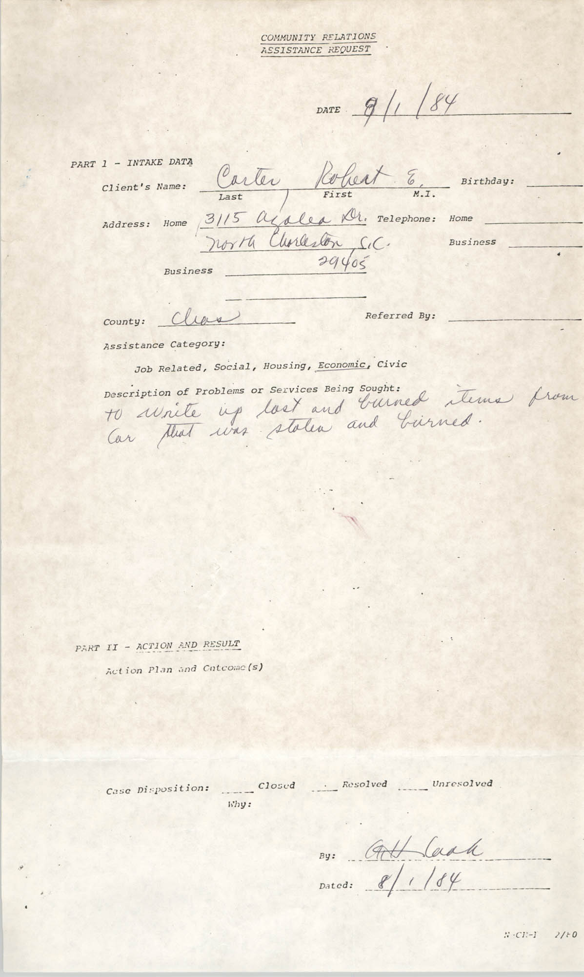 Community Relations Assistance Request, August 1, 1984