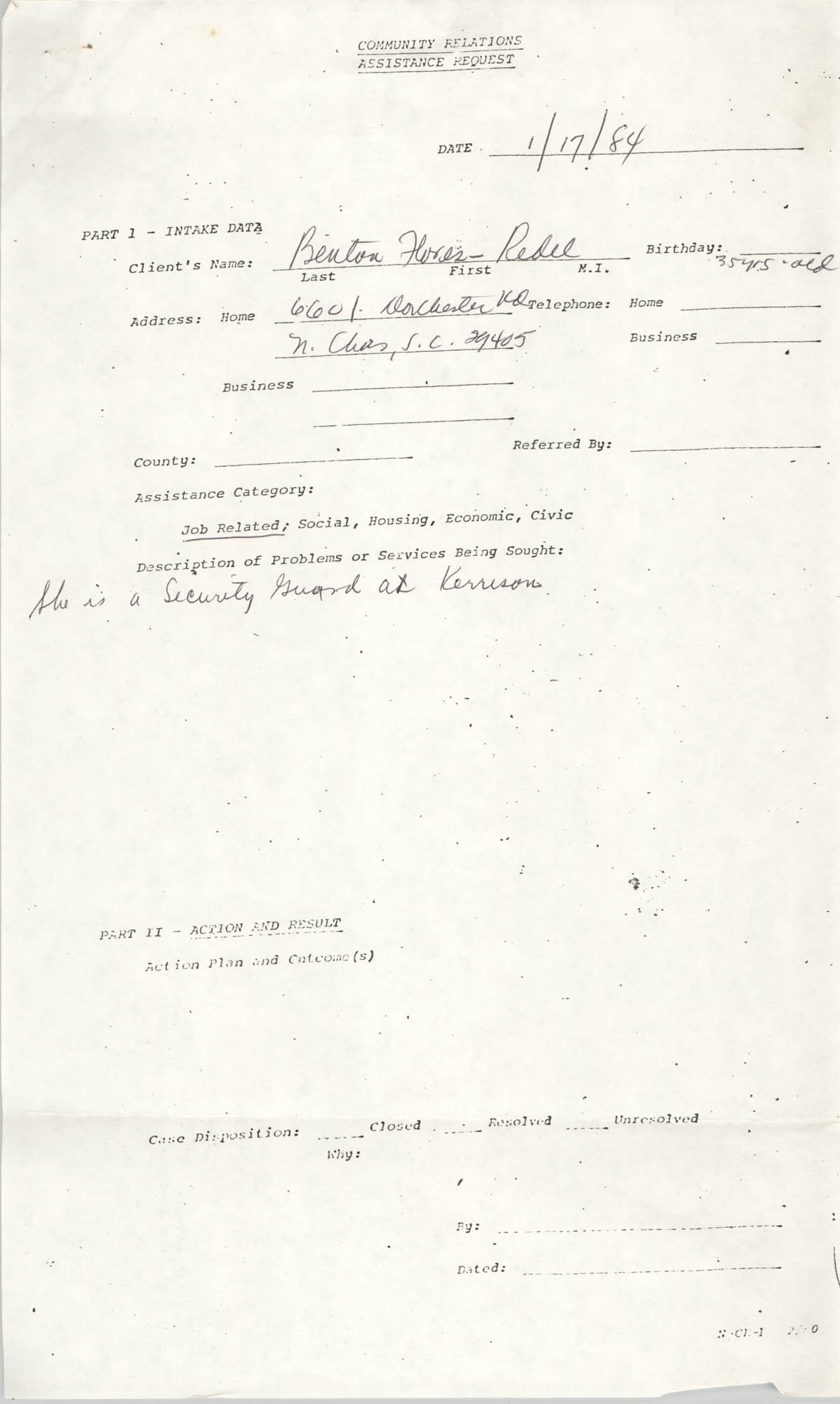 Community Relations Assistance Request, January 17, 1984
