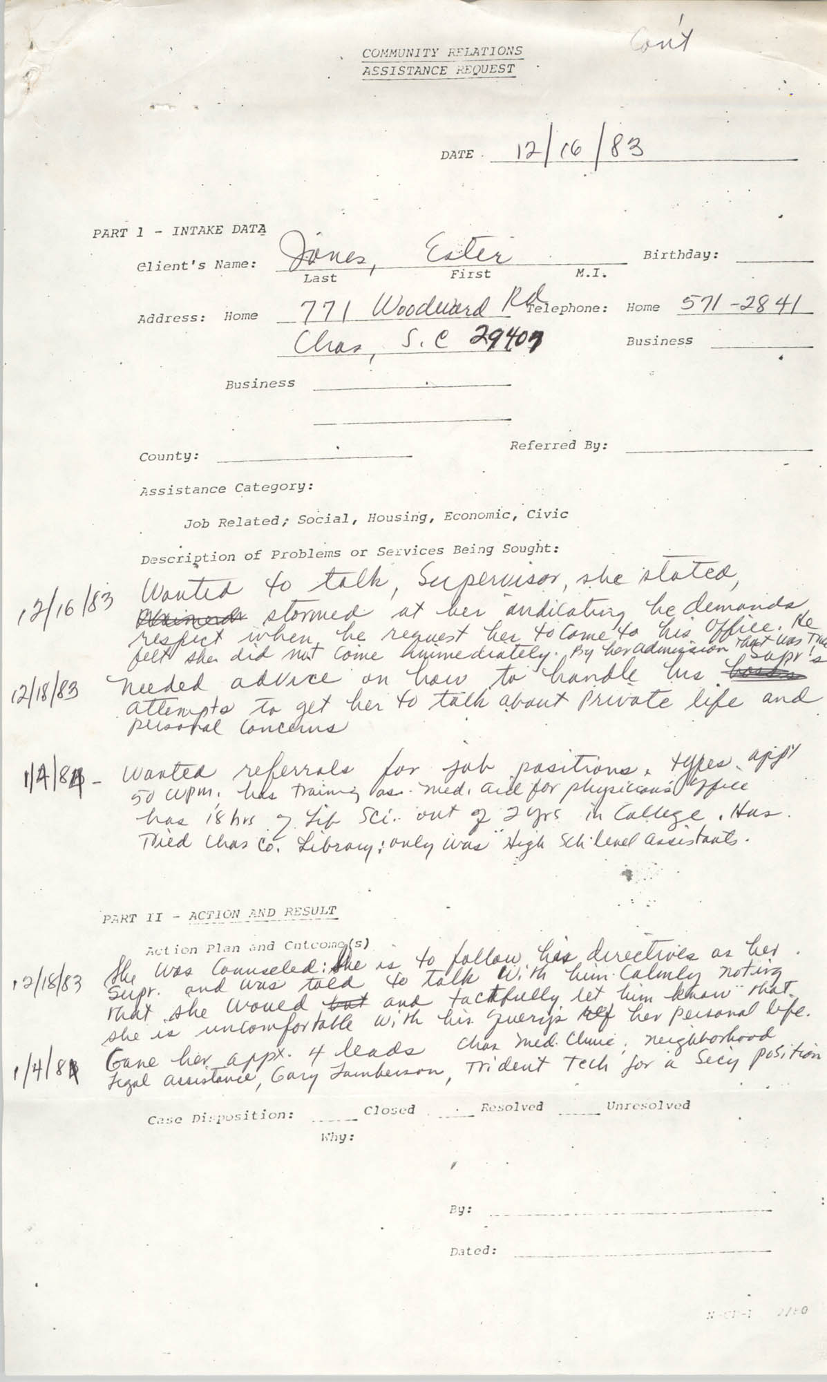 Community Relations Assistance Request, December 16, 1983