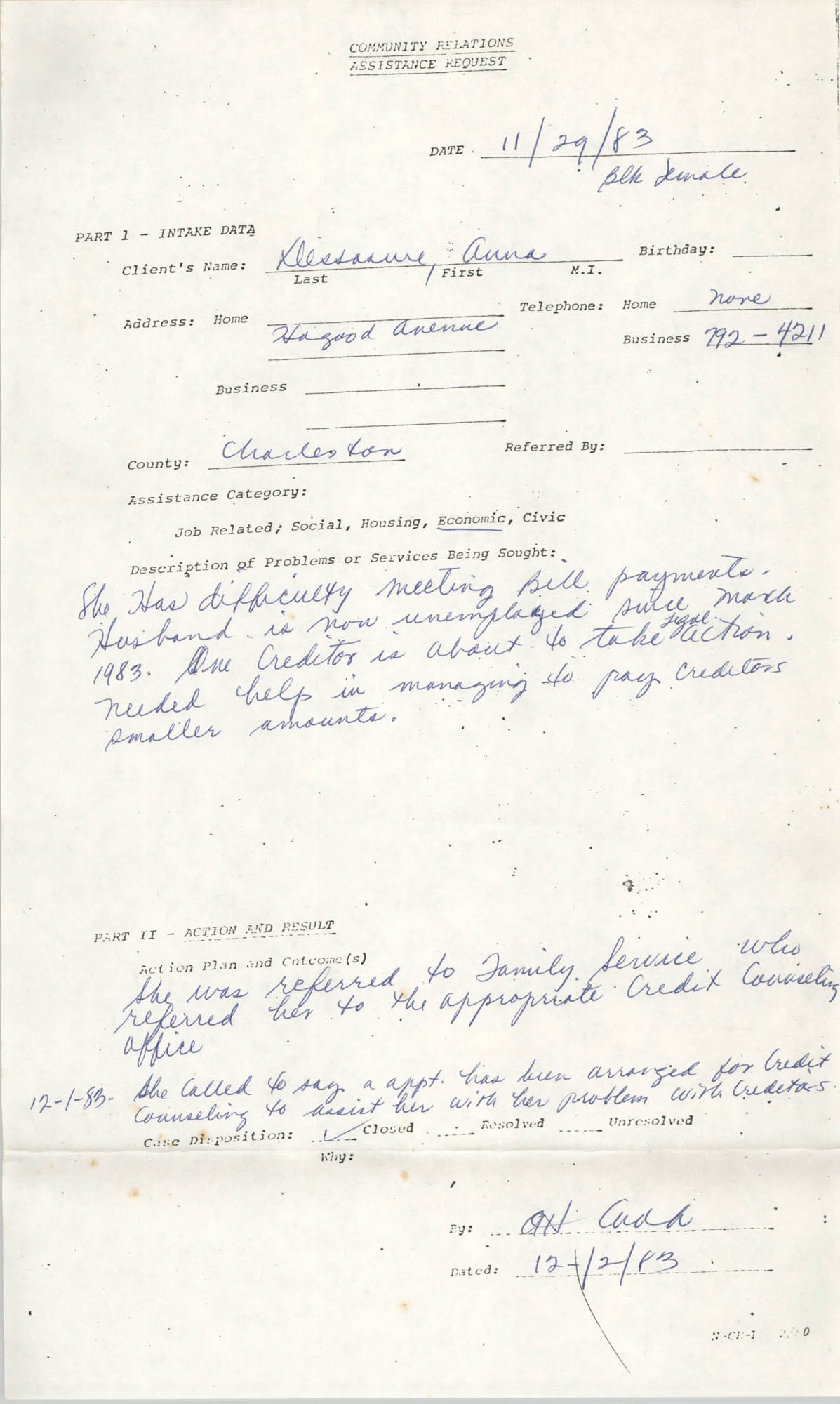 Community Relations Assistance Request, November 29, 1983