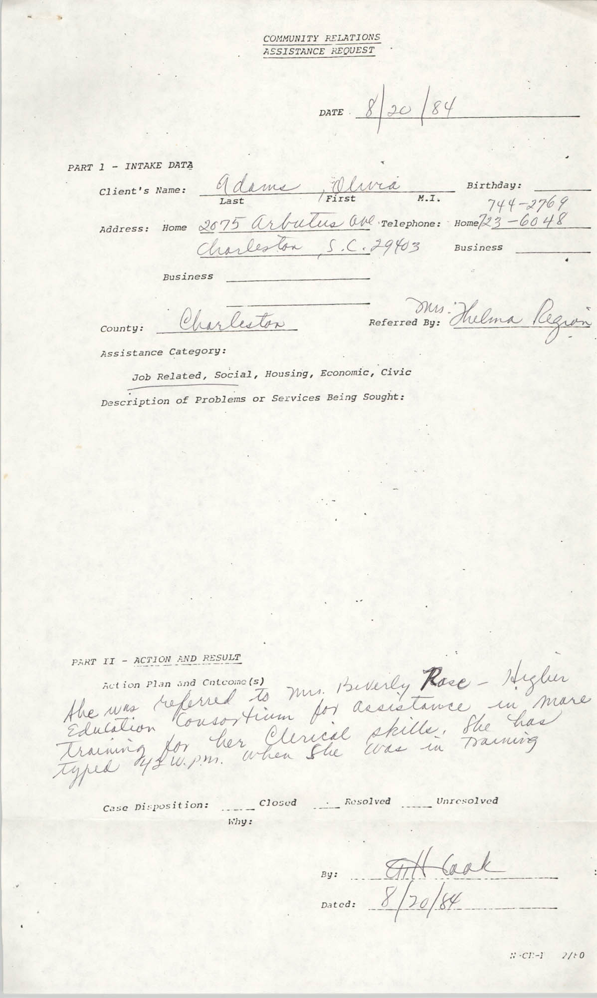 Community Relations Assistance Request, August 20, 1984