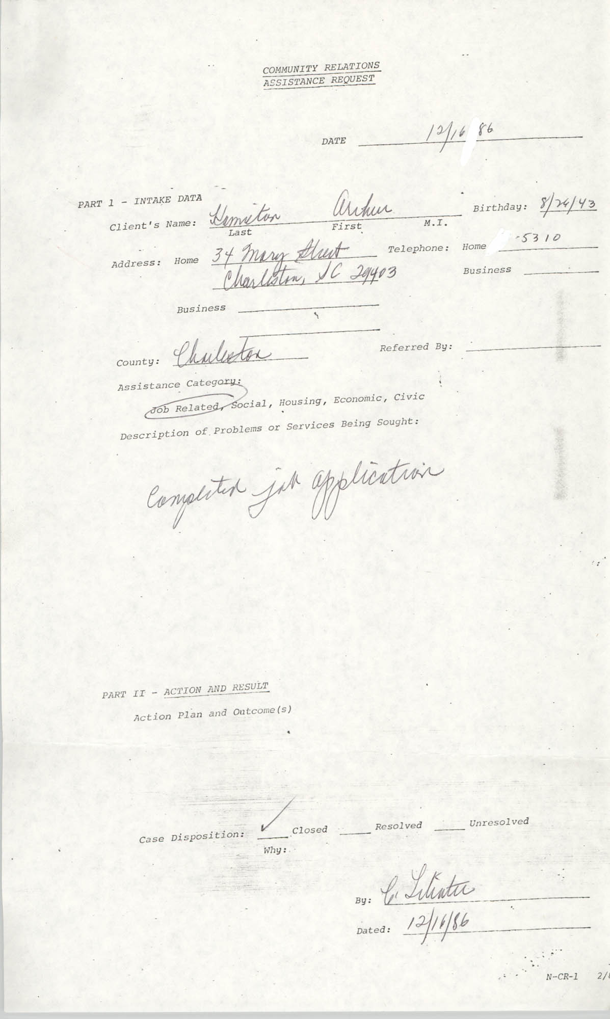 Community Relations Assistance Request, December 16, 1986