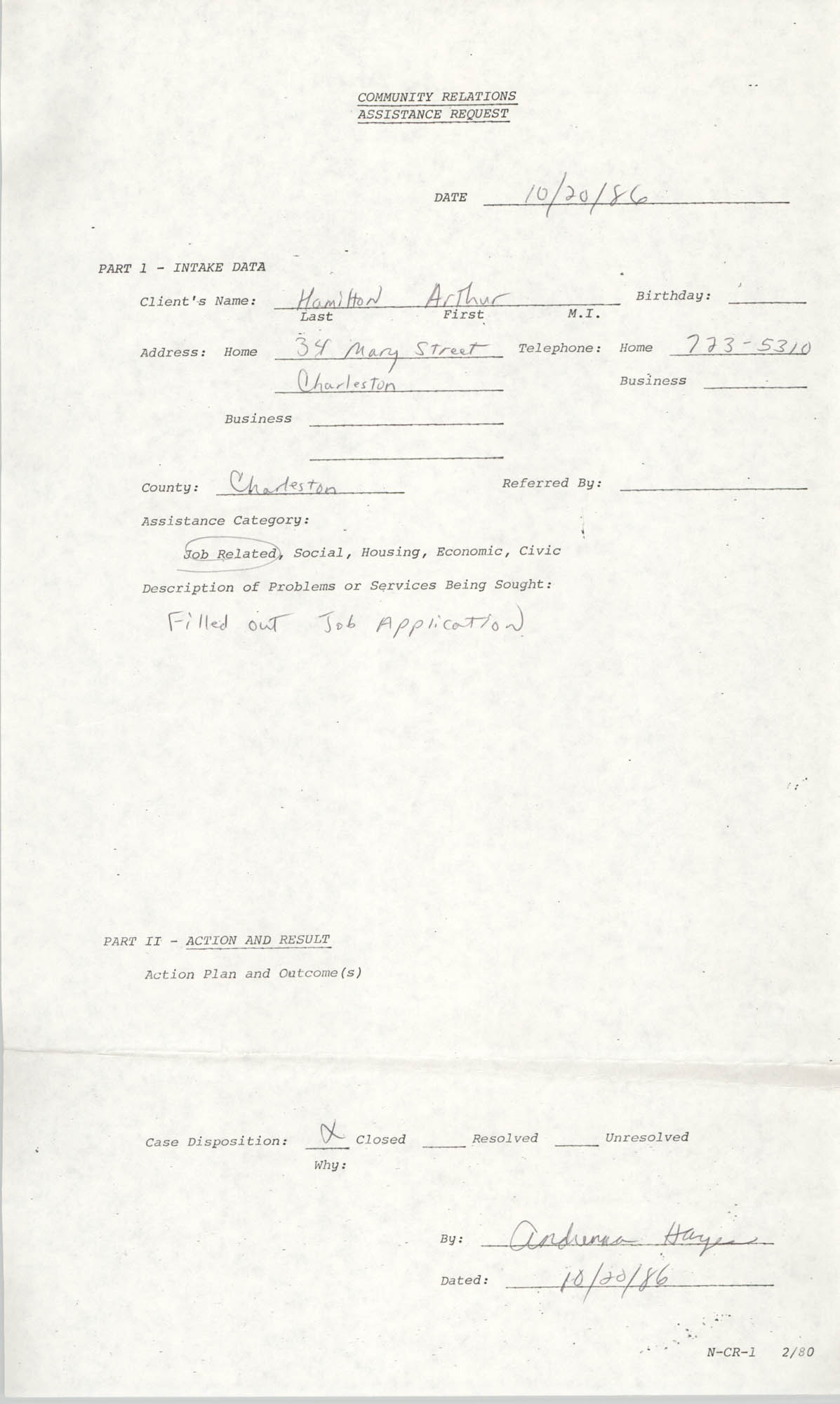 Community Relations Assistance Request, October 20, 1986