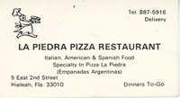 Tarjeta del restaurante La Piedra Pizza  /  La Piedra Pizza Restaurant Business Card